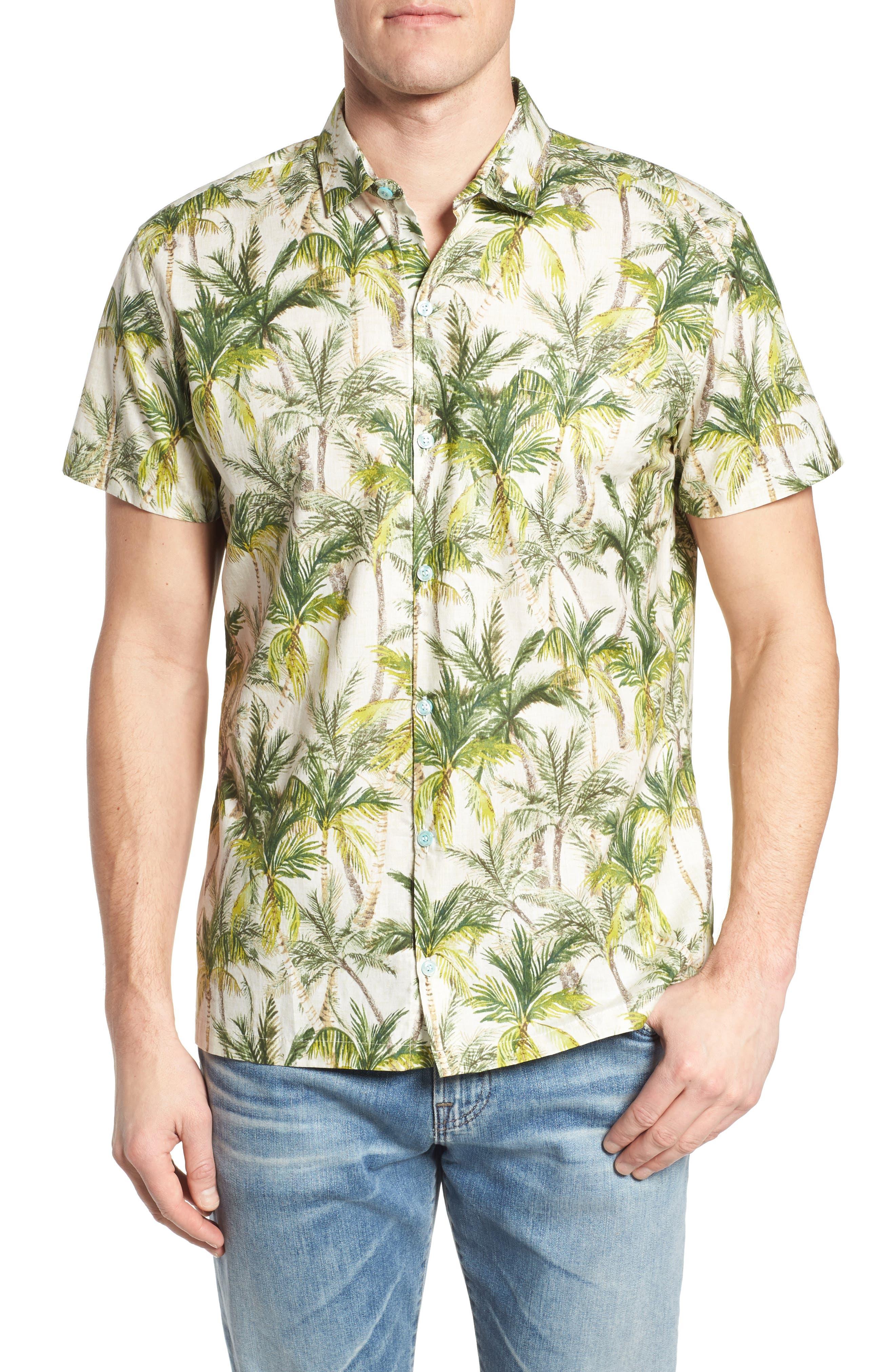 Coco Vida Trim Fit Print Cotton Lawn Sport Shirt,                             Main thumbnail 1, color,                             102