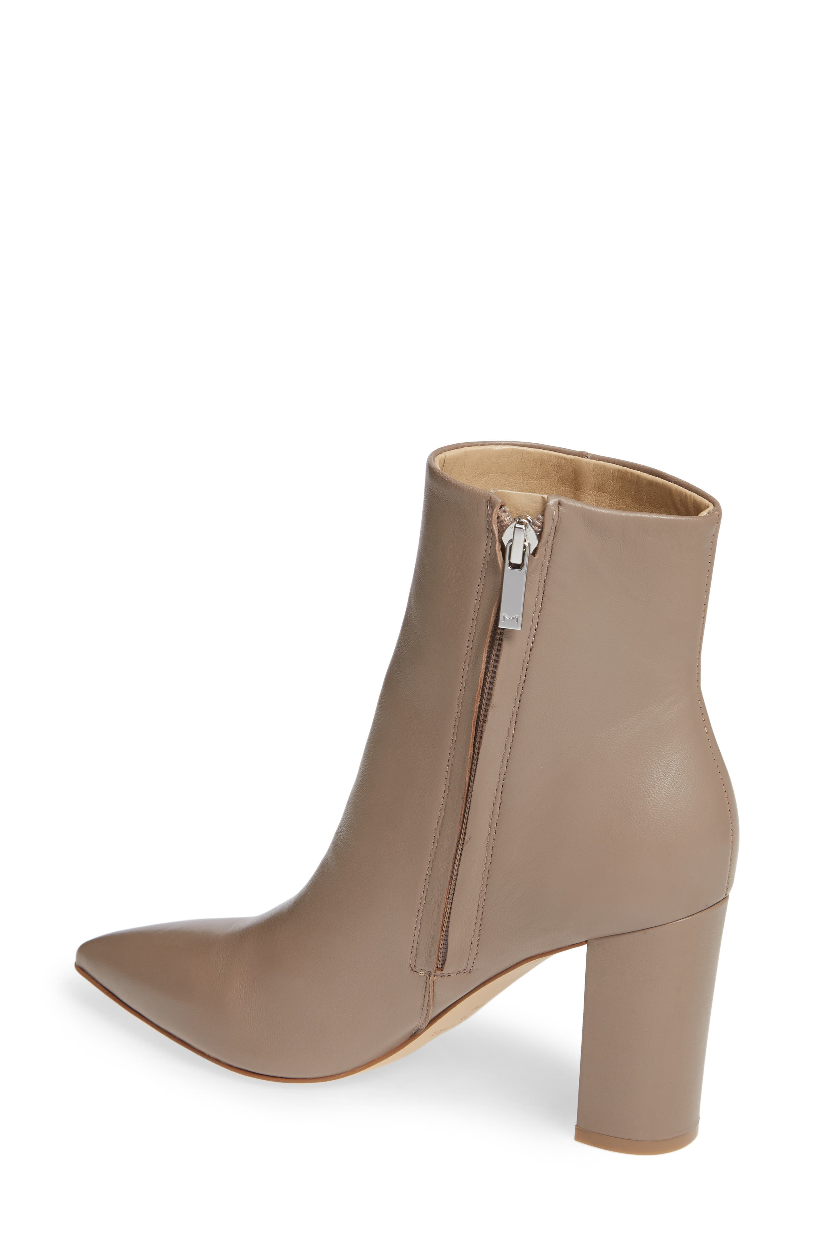 MARC FISHER LTD,                              Ulani Pointy Toe Bootie,                             Alternate thumbnail 2, color,                             TAUPE LEATHER