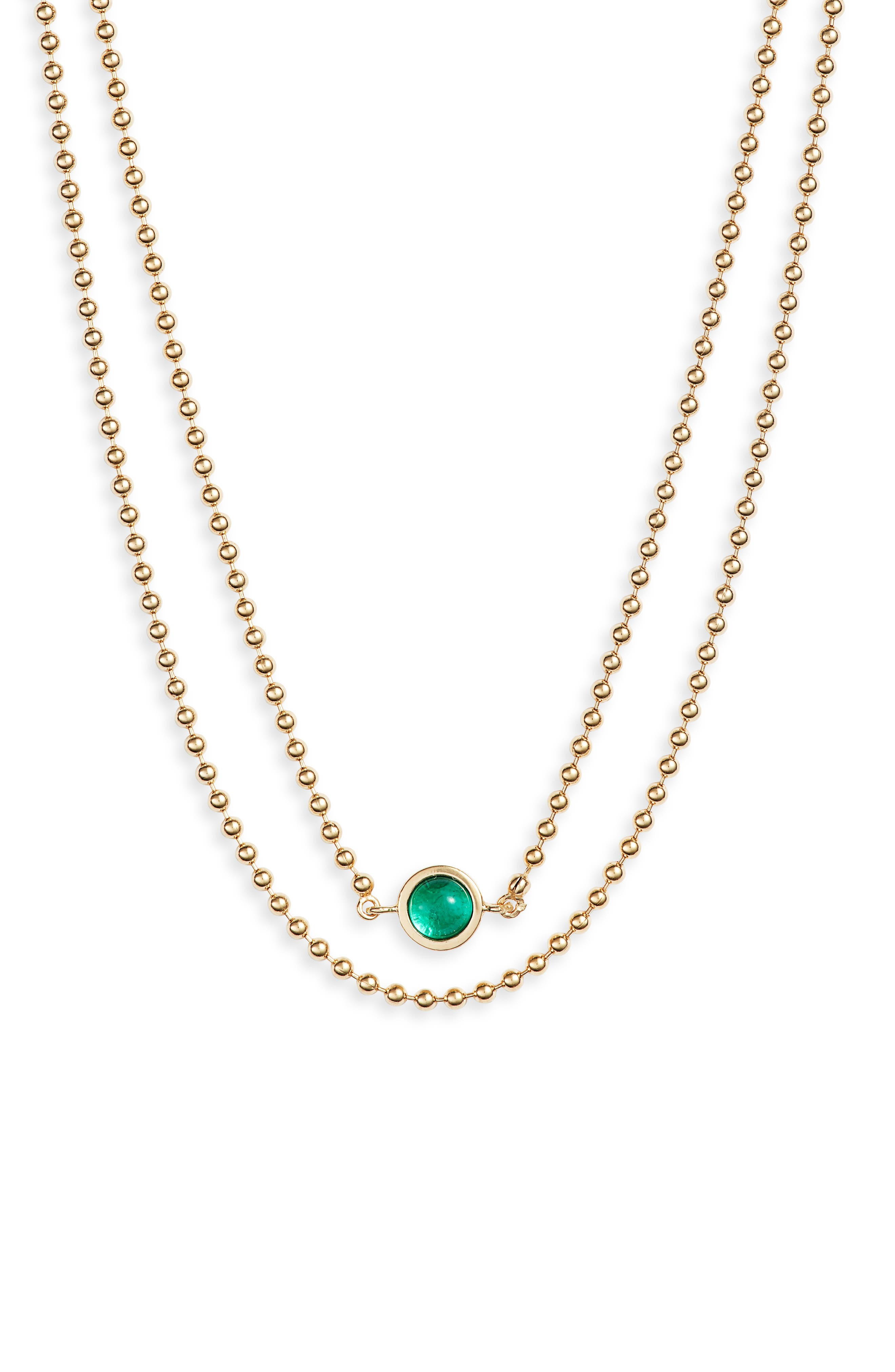 JENNIFER ZEUNER Eliza Double Strand Necklace in Yellow Gold Vermeil