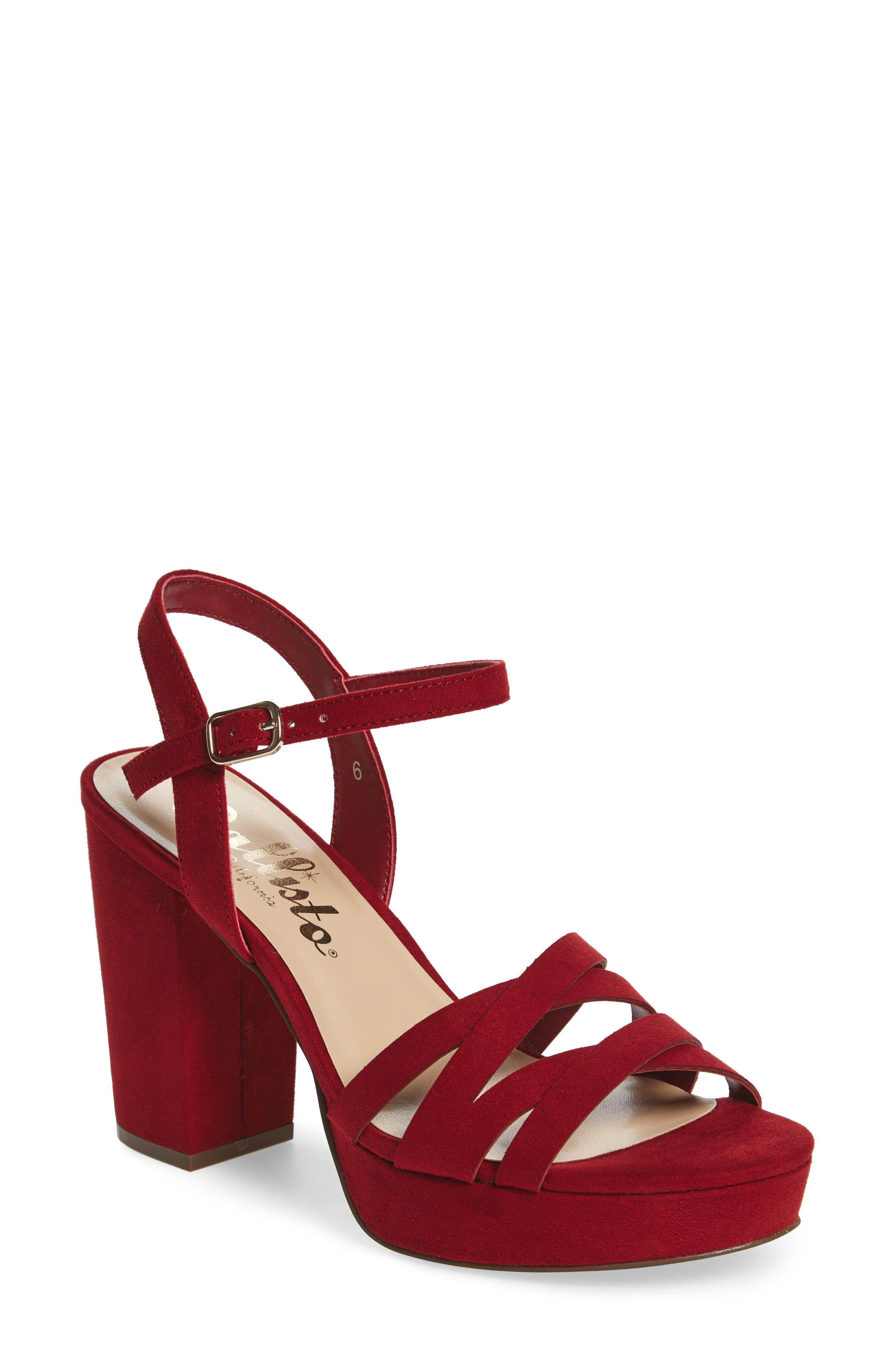 Paxx Platform Sandal,                             Main thumbnail 1, color,                             RED FAUX SUEDE