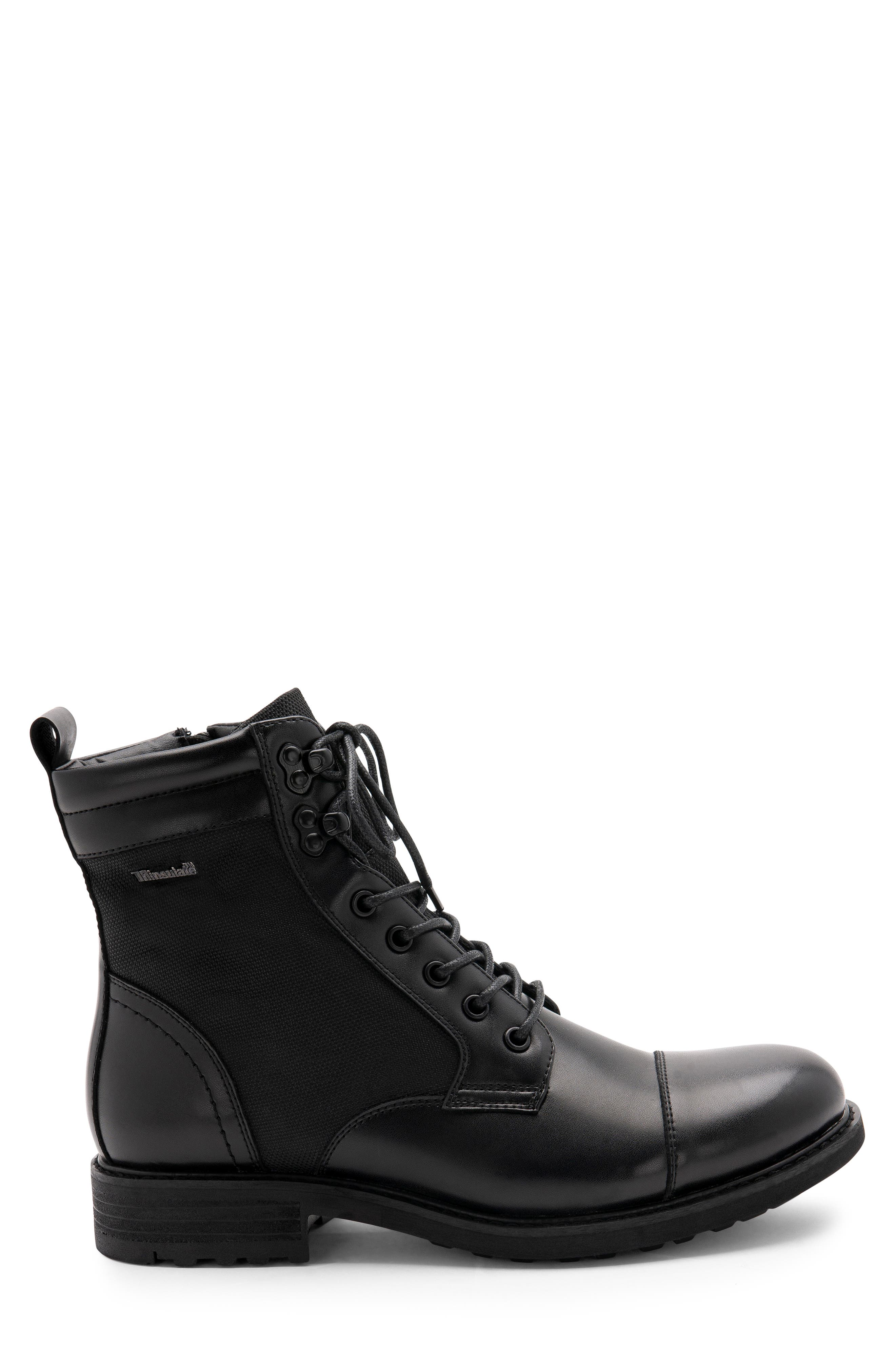 Paxton Waterproof Cap Toe Boot,                             Alternate thumbnail 3, color,                             BLACK LEATHER