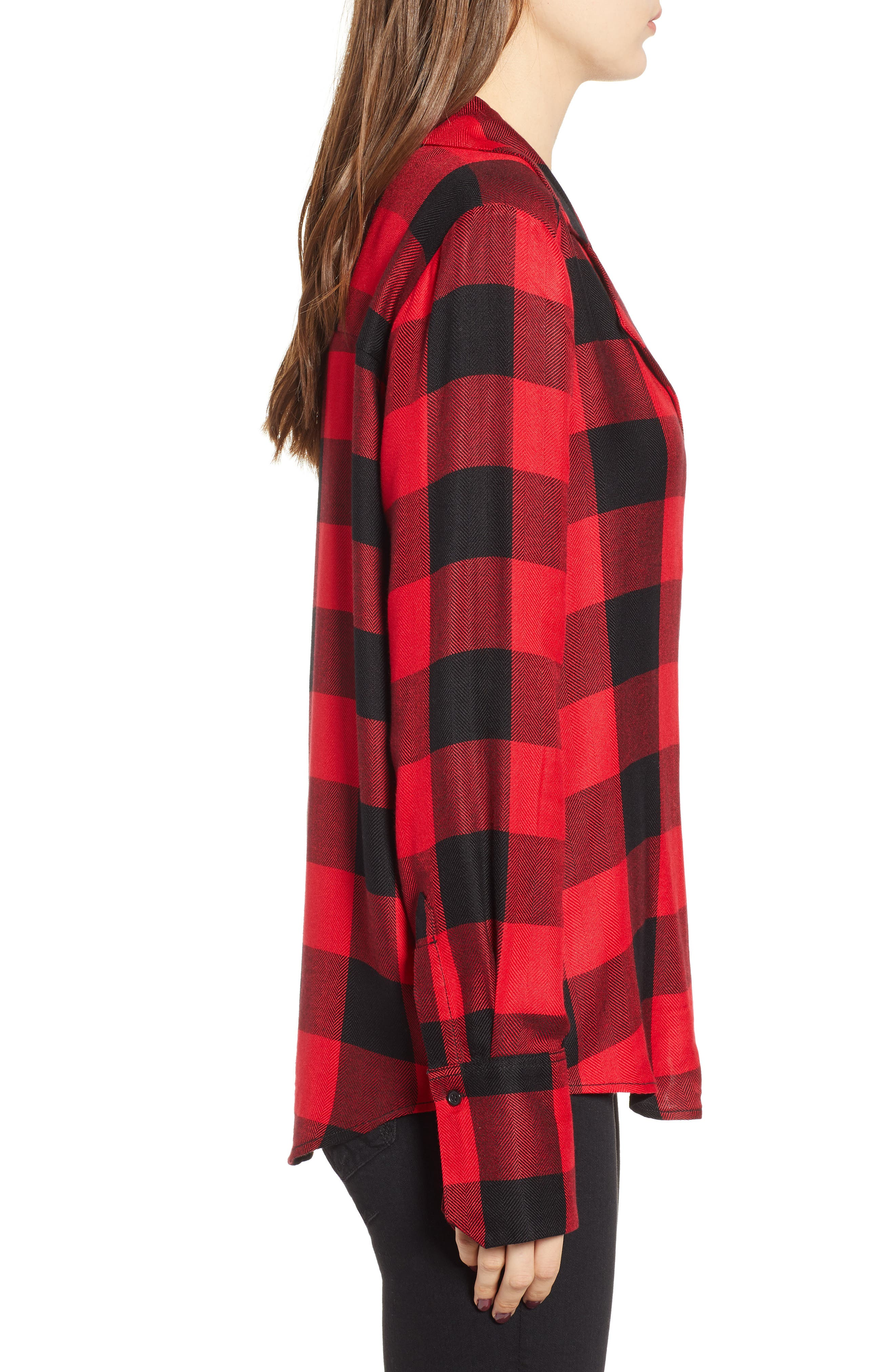 PAIGE,                             Elora Shirt,                             Alternate thumbnail 3, color,                             TRUE RED / BLACK