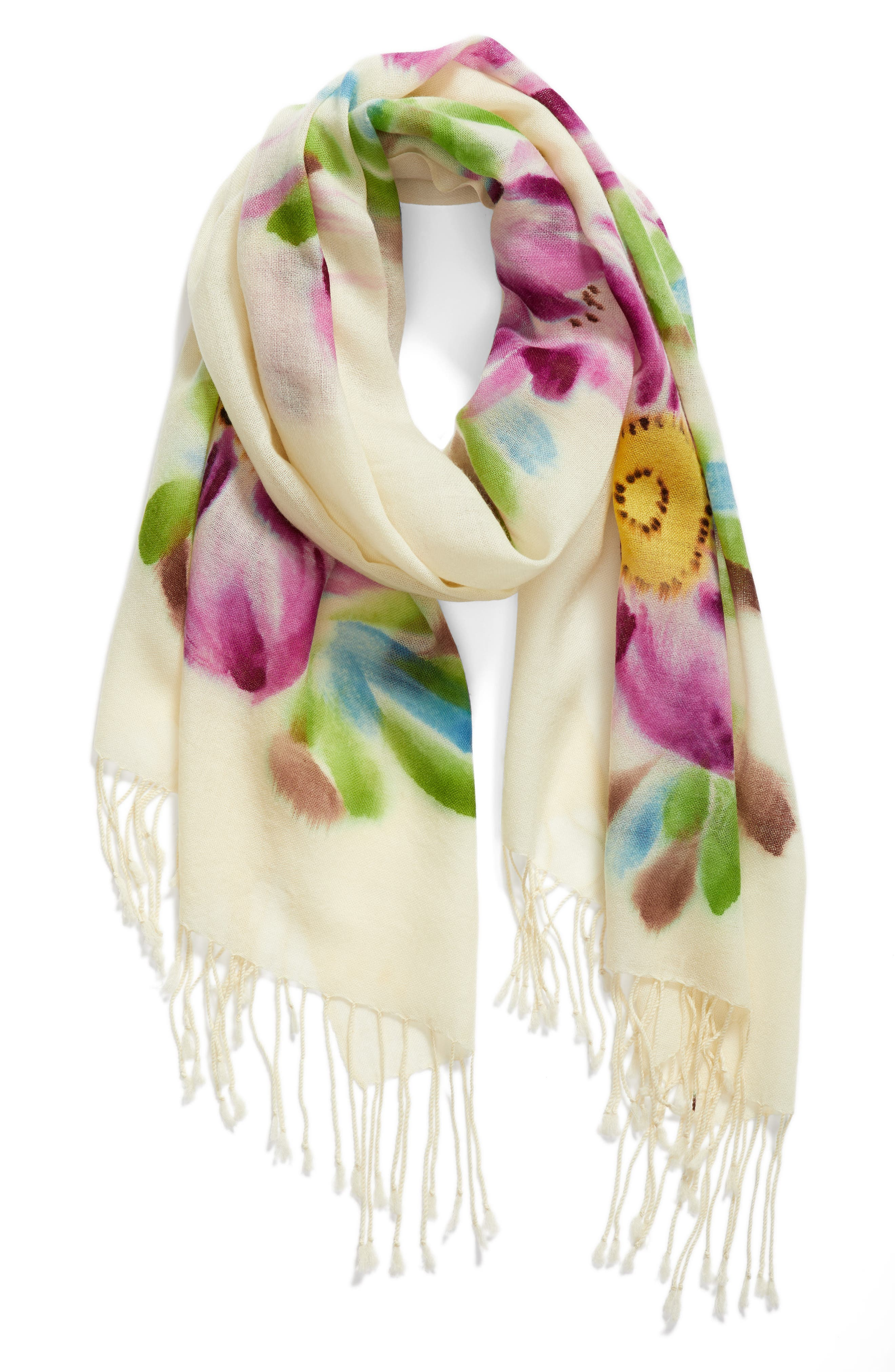 Floral Wool Scarf,                             Alternate thumbnail 2, color,                             650