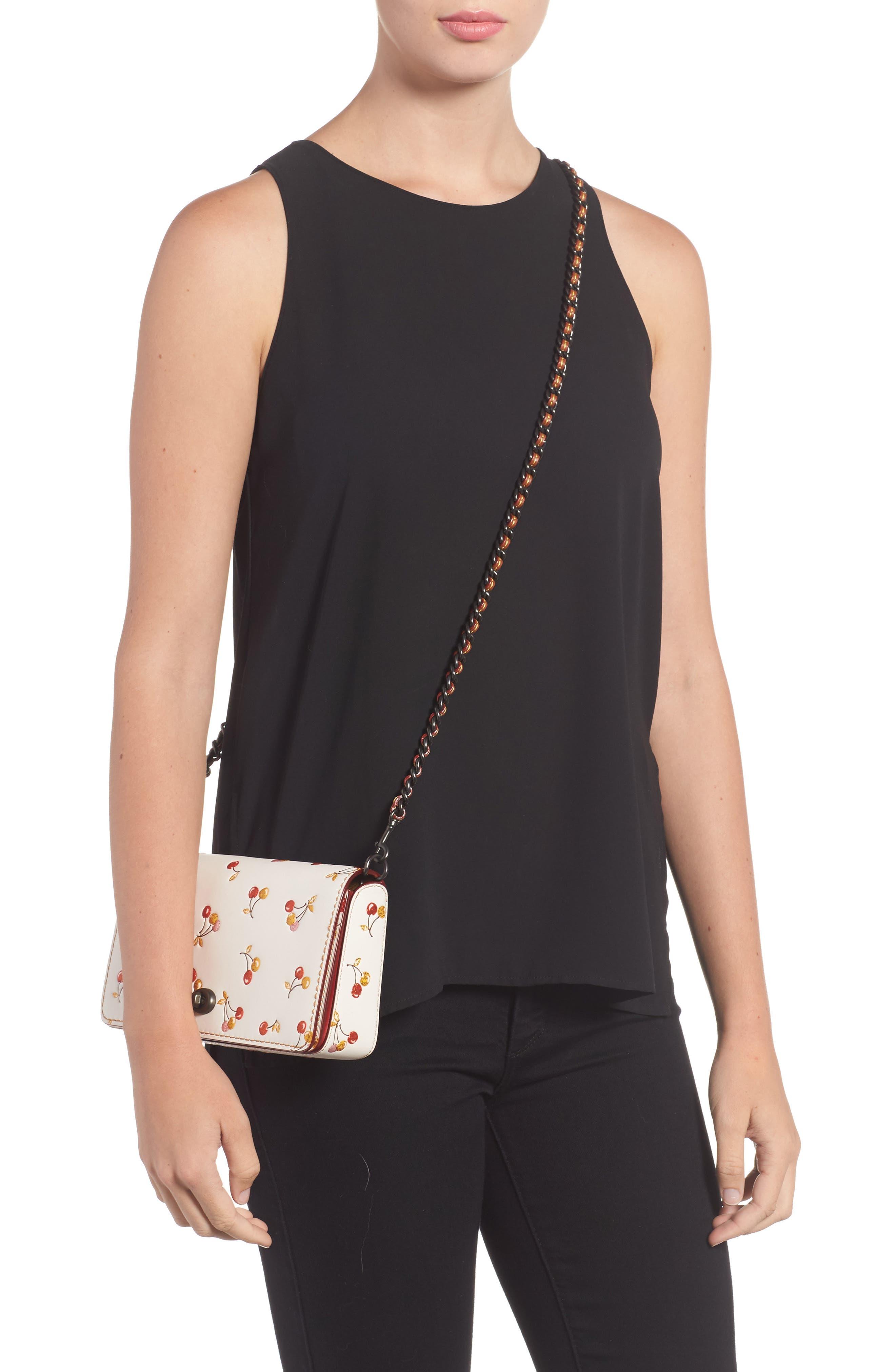 Cherries Dinky Leather Crossbody Bag,                             Alternate thumbnail 2, color,                             250