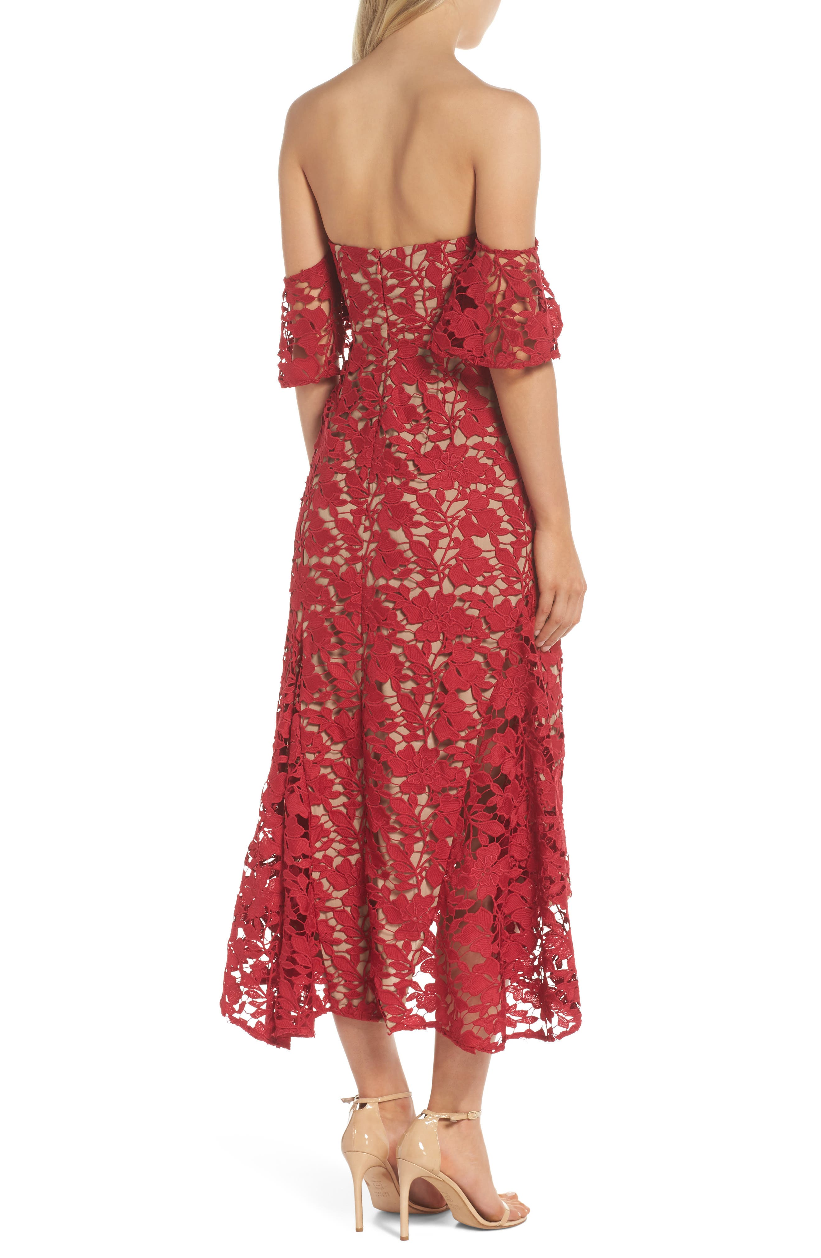 Scarlett Off the Shoulder Lace Dress,                             Alternate thumbnail 2, color,                             RED