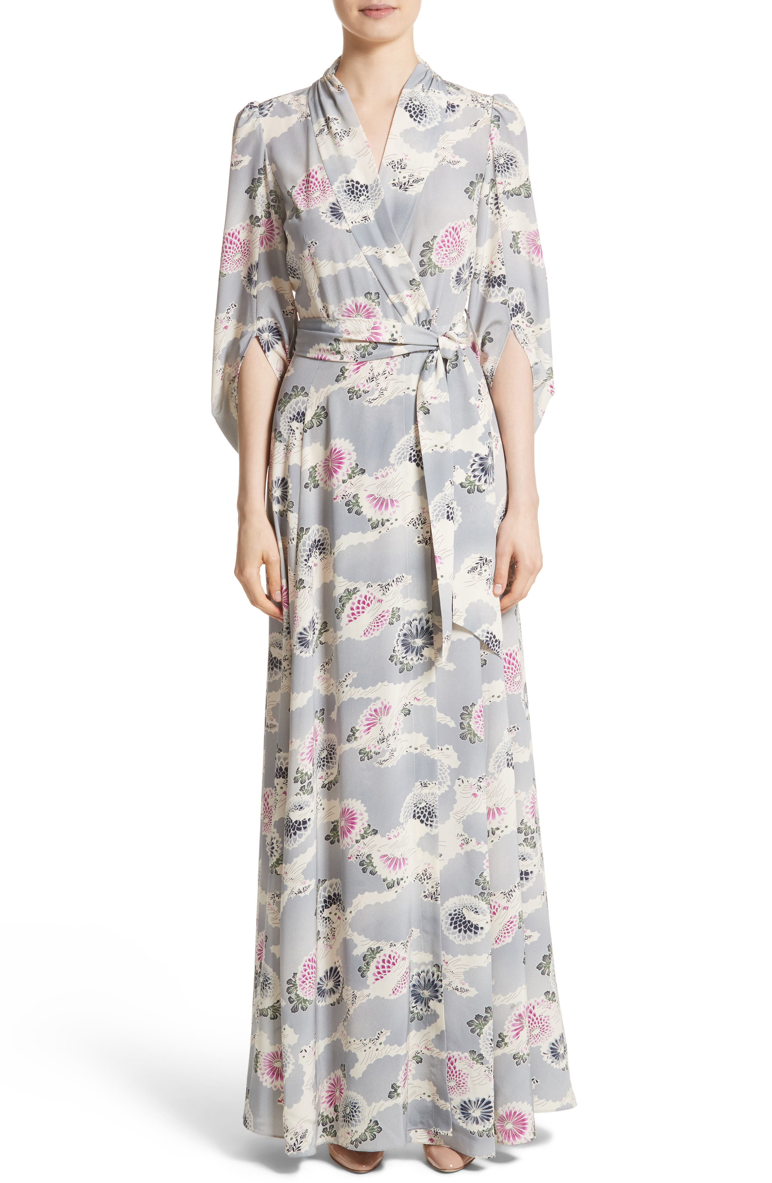 Floral Print Silk Crêpe de Chine Maxi Wrap Dress,                         Main,                         color, 020