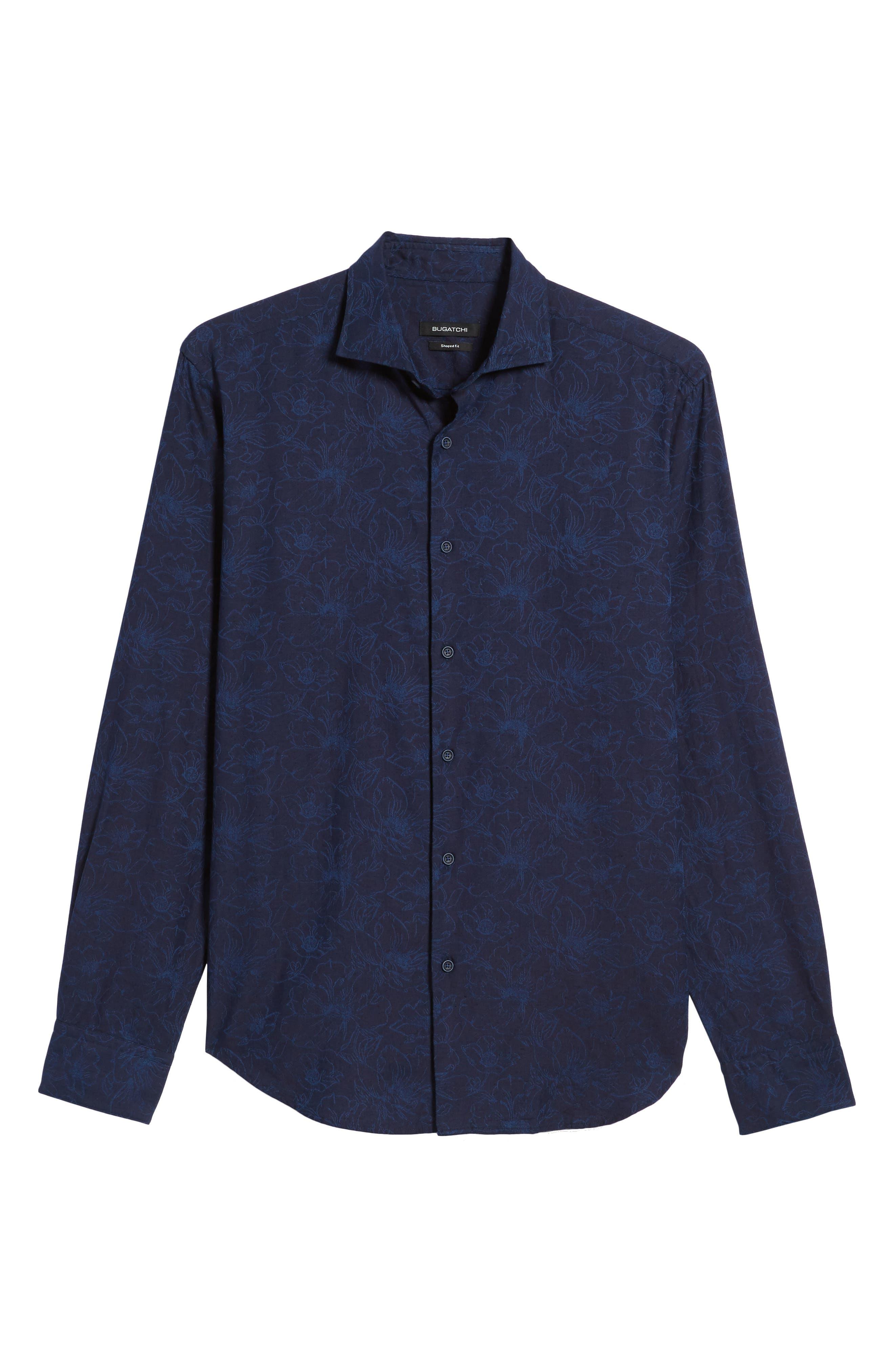 Slim Fit Floral Jacquard Sport Shirt,                             Alternate thumbnail 6, color,                             408