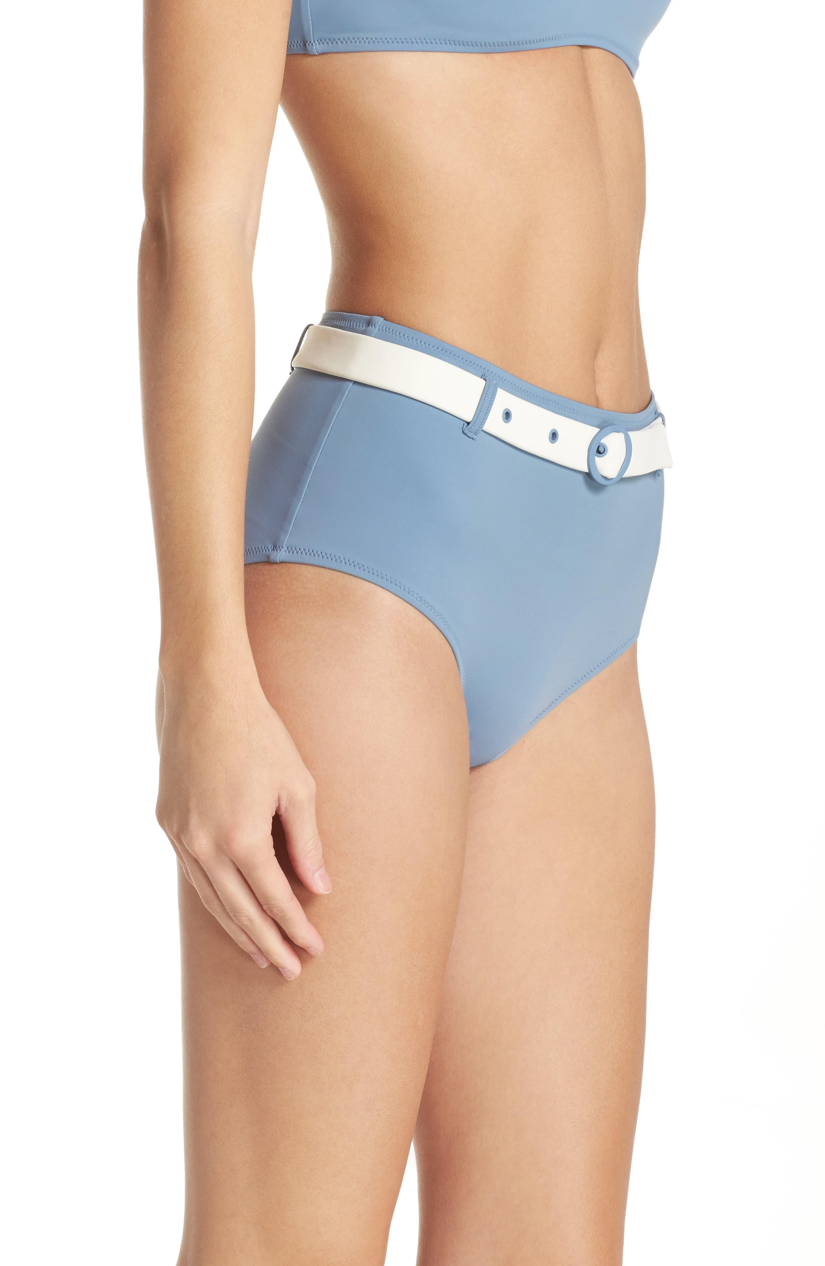 The Quinn Belted High Waist Bikini Bottoms,                             Alternate thumbnail 3, color,                             459