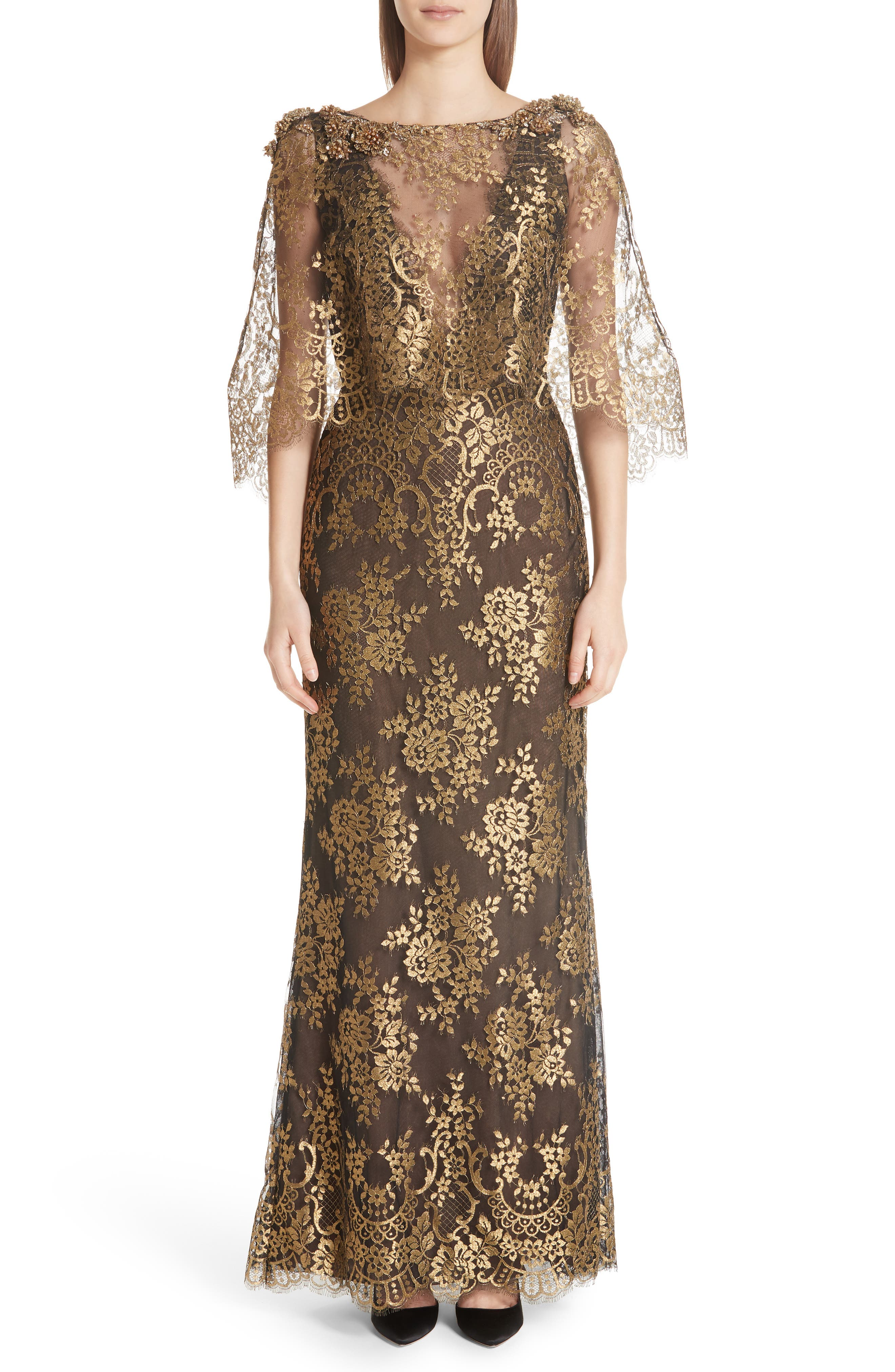 Edwardian Ladies Clothing – 1900, 1910s, Titanic Era Womens Marchesa Cape Detail Metallic Lace Gown Size 14 - Black $4,995.00 AT vintagedancer.com