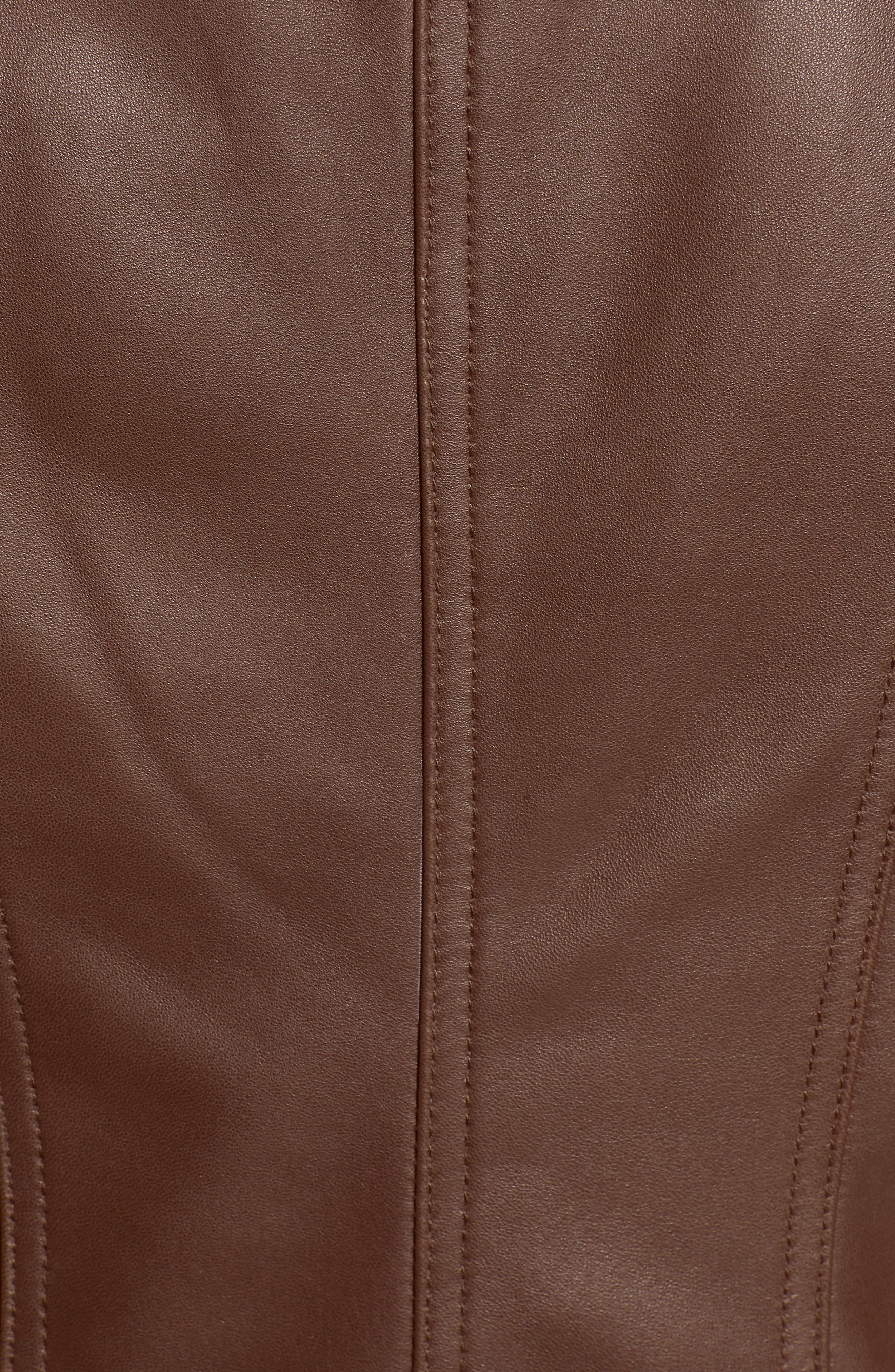 Gia Leather Biker Jacket,                             Alternate thumbnail 7, color,                             CHOCOLATE