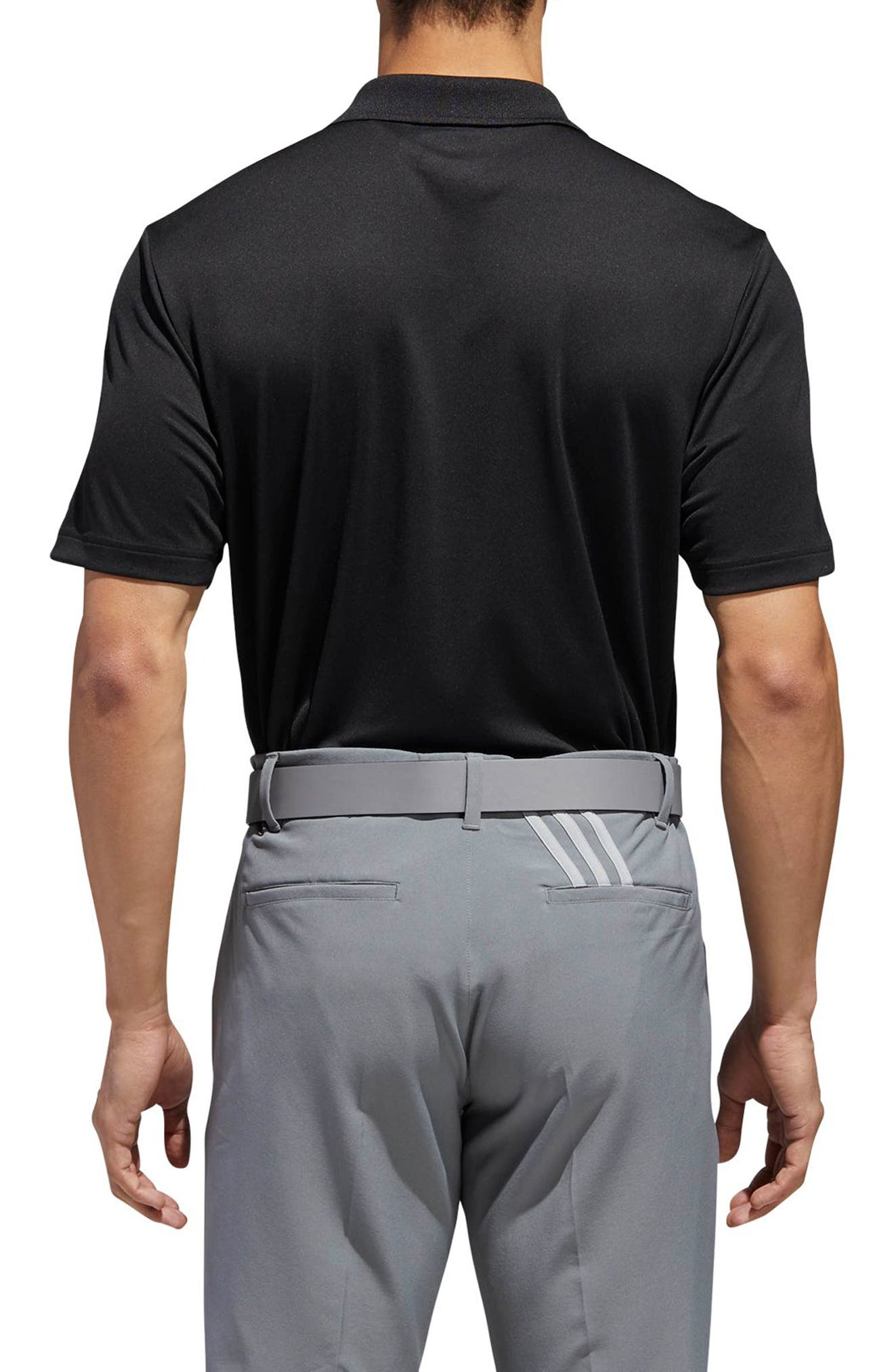 adidas 3-Stripes Regular Fit Golf Polo,                             Alternate thumbnail 2, color,                             BLACK/ GREY