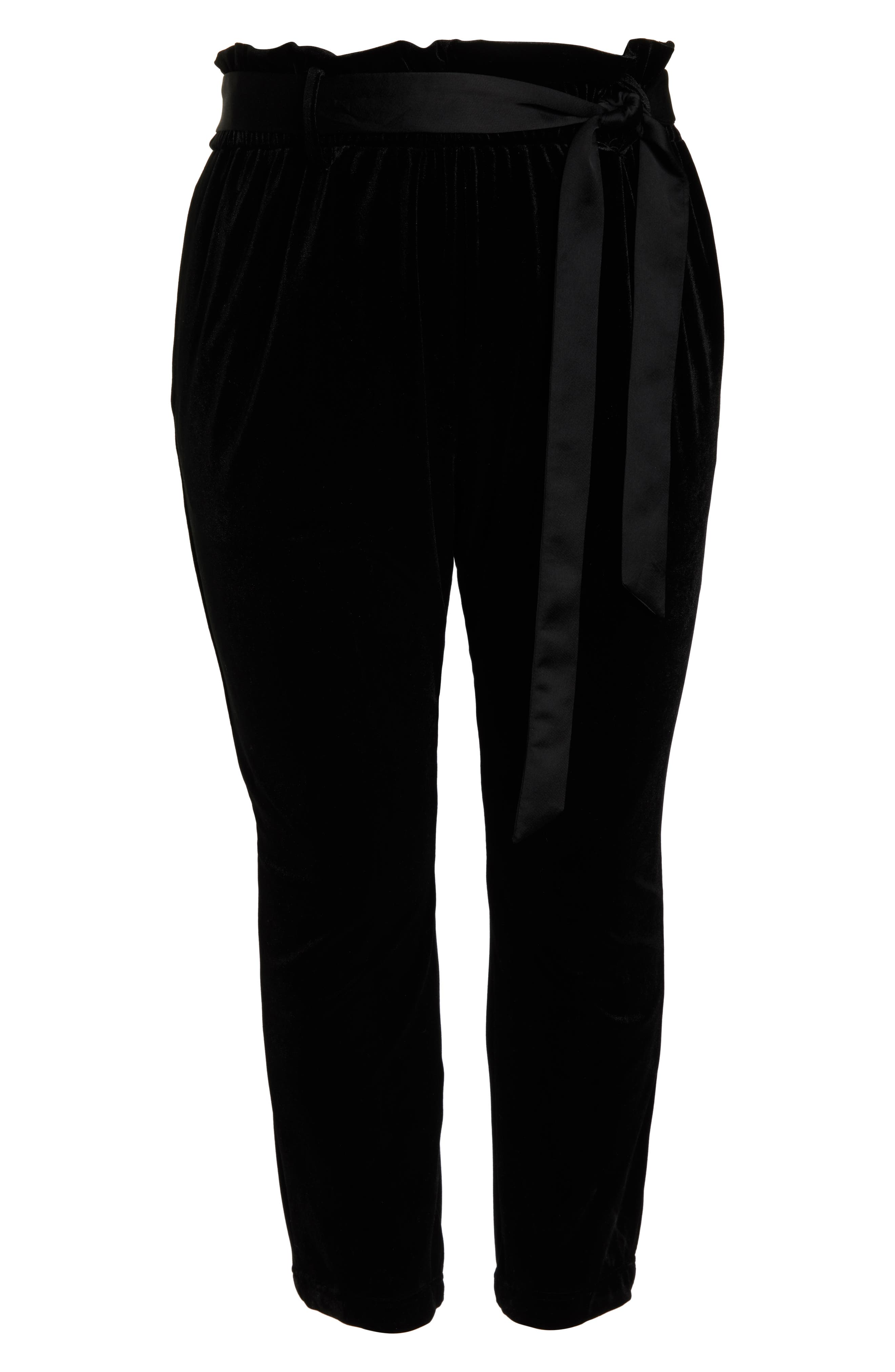 Tie Waist Velvet Pants,                             Alternate thumbnail 13, color,                             001