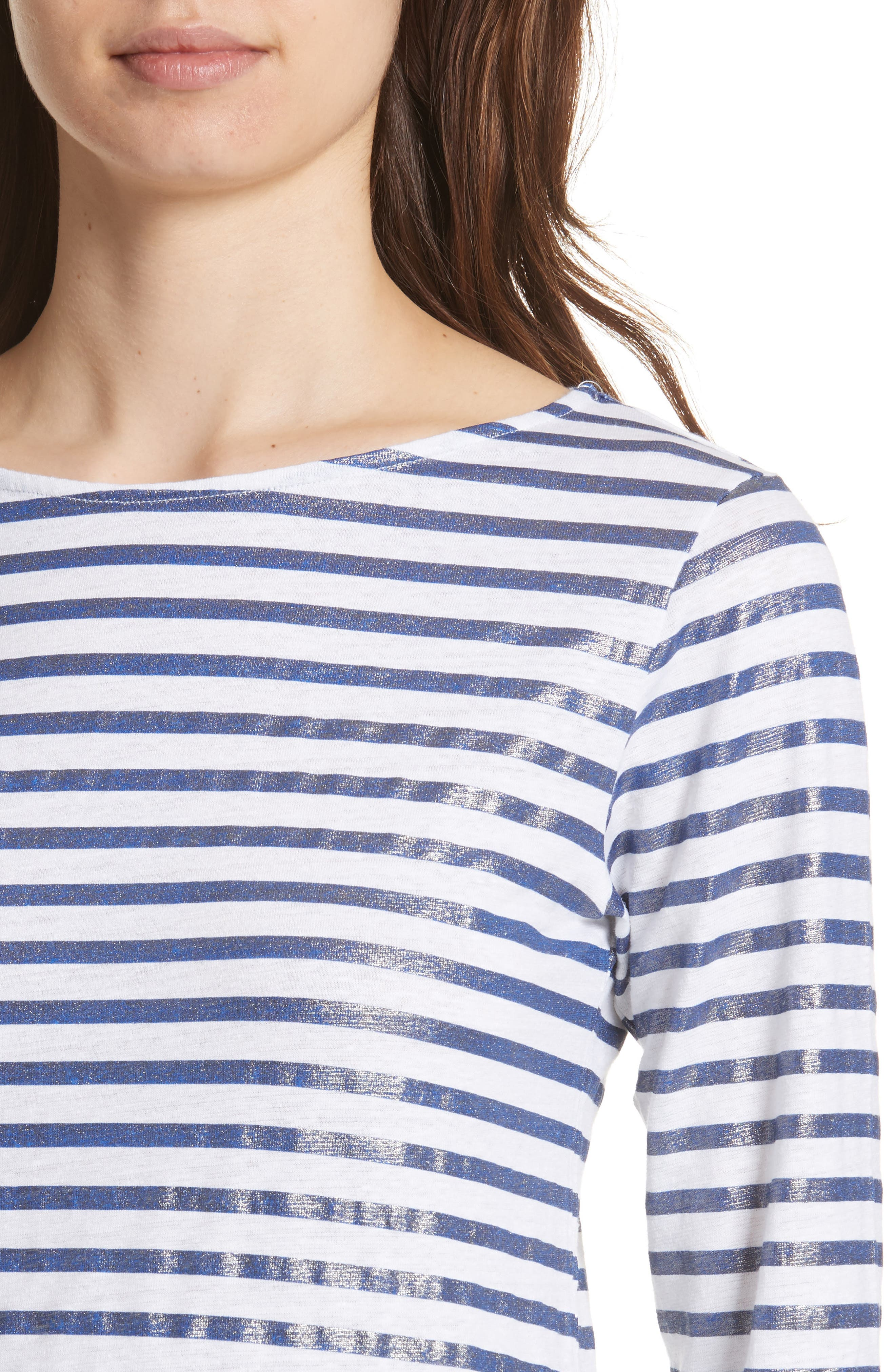 Linen Stretch Stripe Top,                             Alternate thumbnail 4, color,                             BLANC/ MARINE METAL