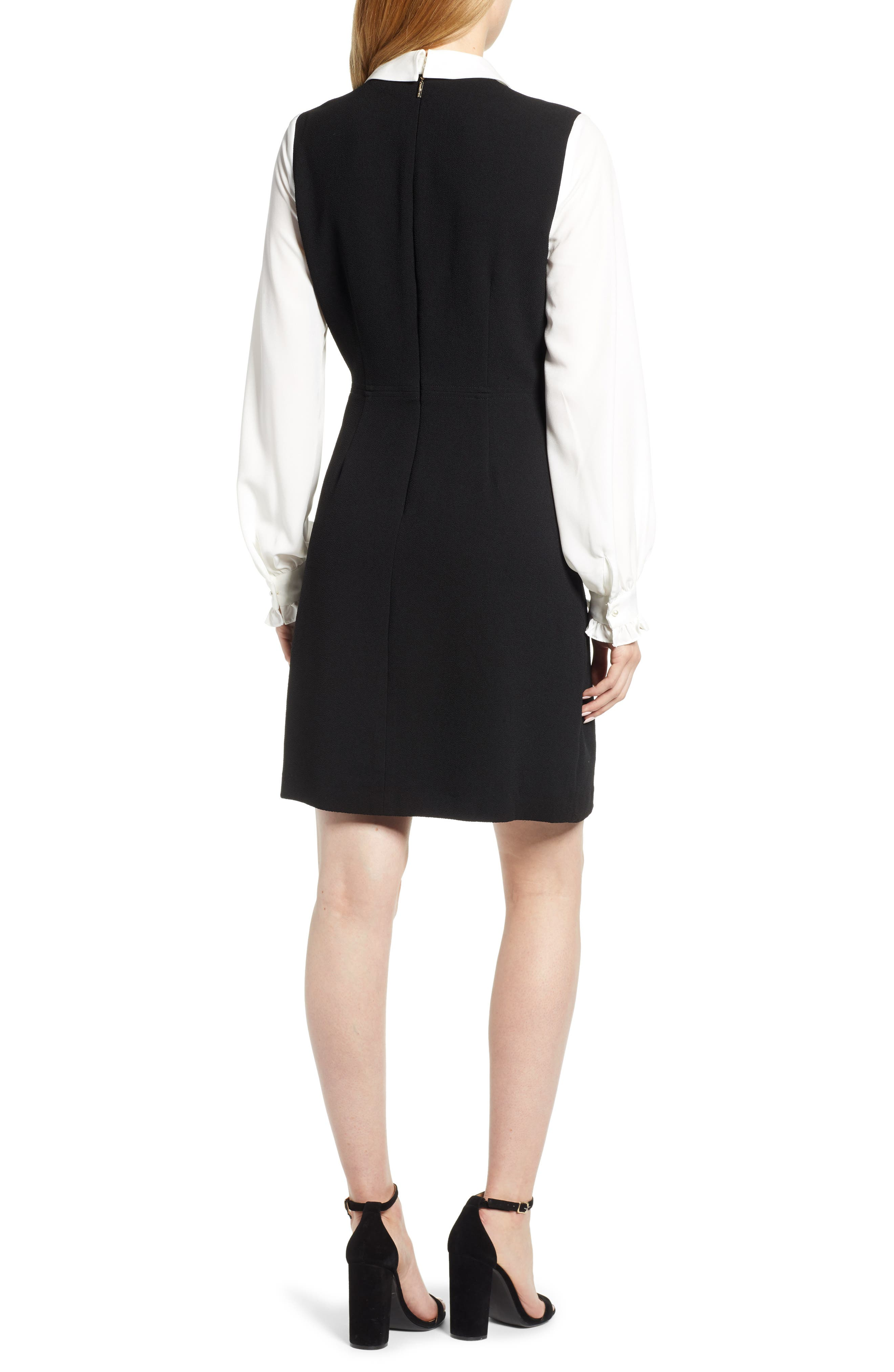 Ruffle Sweater Dress,                             Alternate thumbnail 2, color,                             BLACK/ WHITE