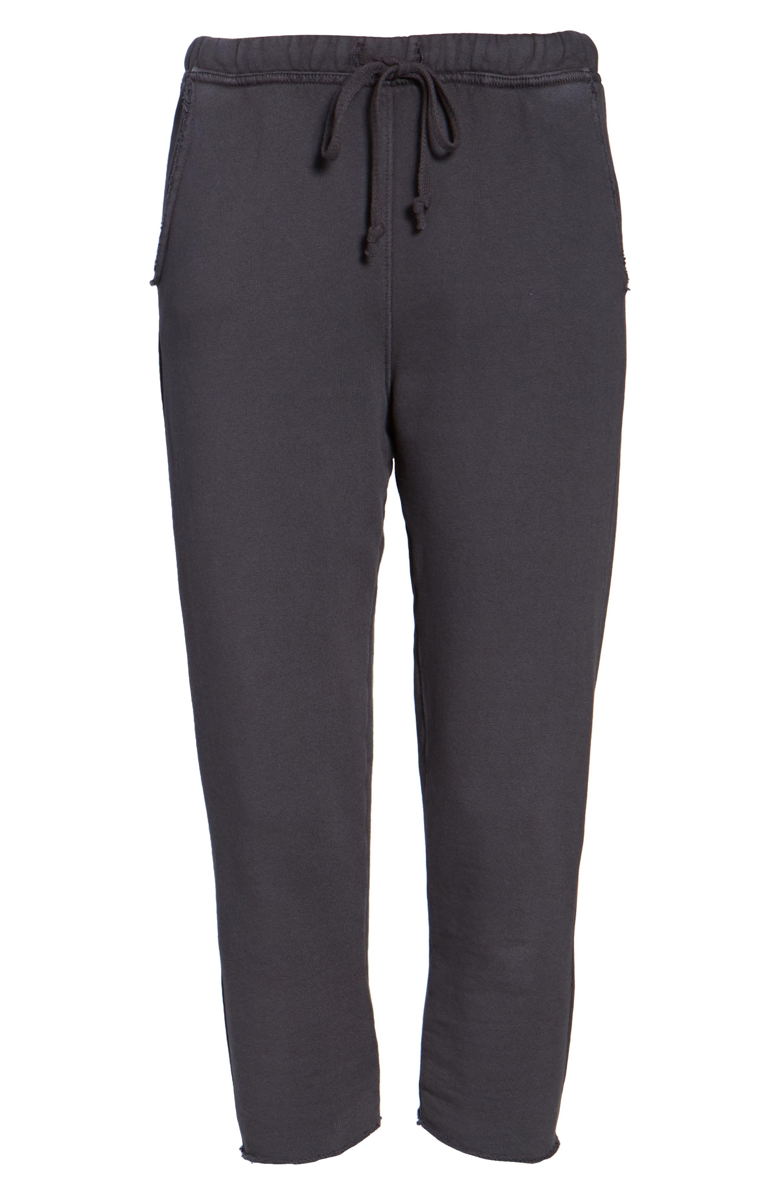 Raw Hem Crop Sweatpants,                             Alternate thumbnail 6, color,                             010