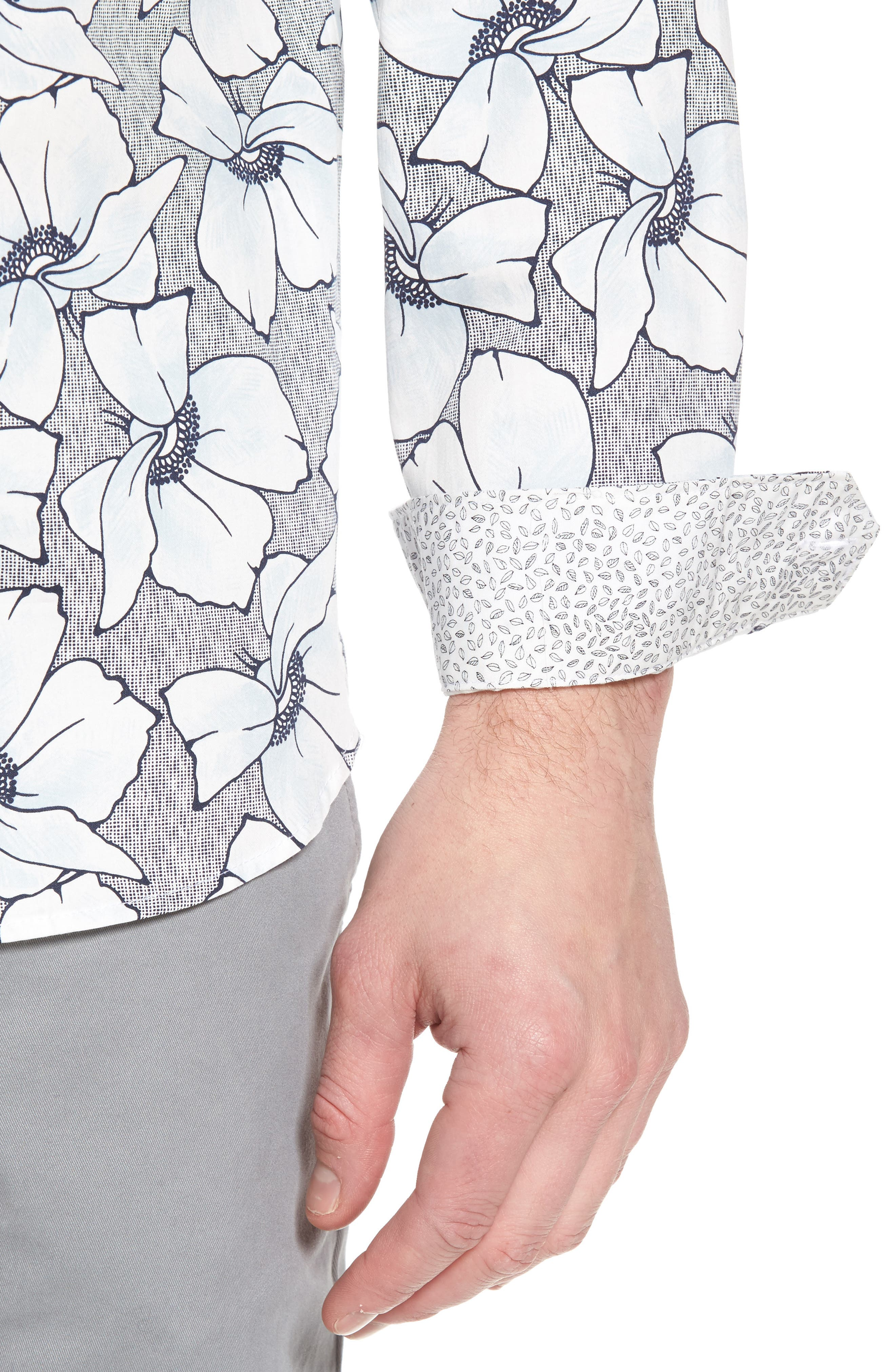 Ligflo Trim Fit Floral Print Sport Shirt,                             Alternate thumbnail 4, color,                             450
