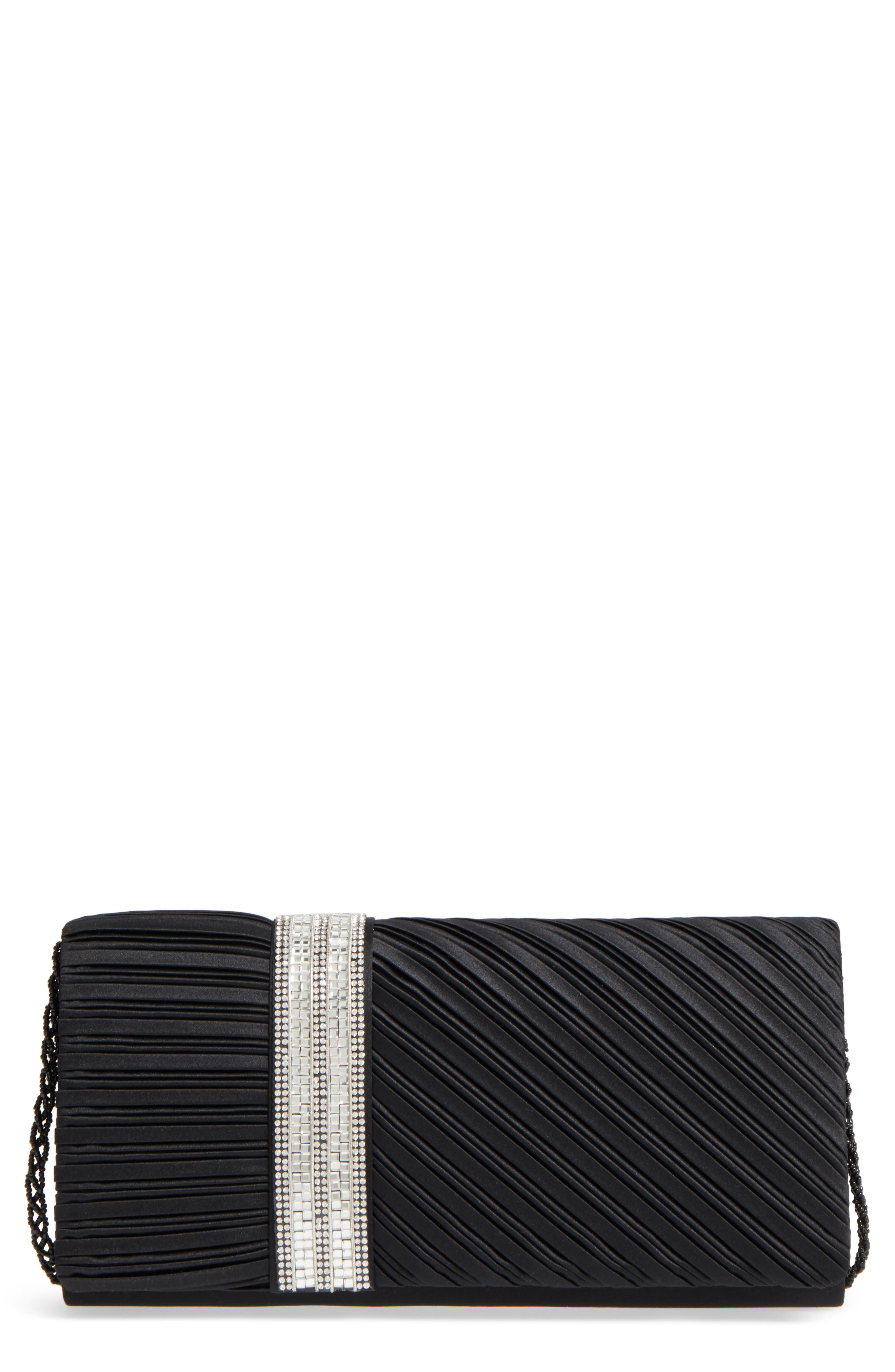 Daylie Pleated Satin Clutch,                         Main,                         color, 001