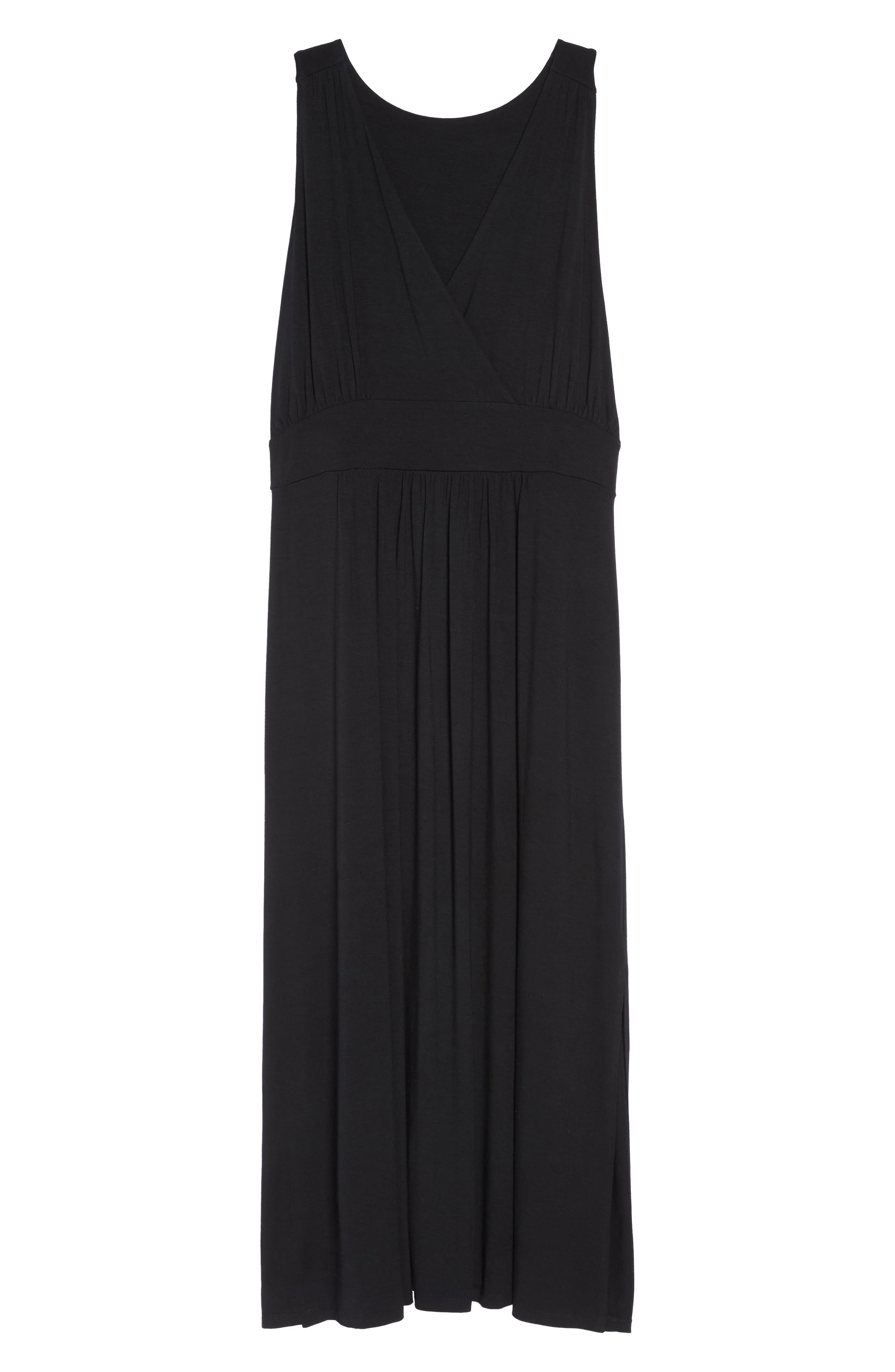 Knit Maxi Dress,                             Alternate thumbnail 7, color,                             001