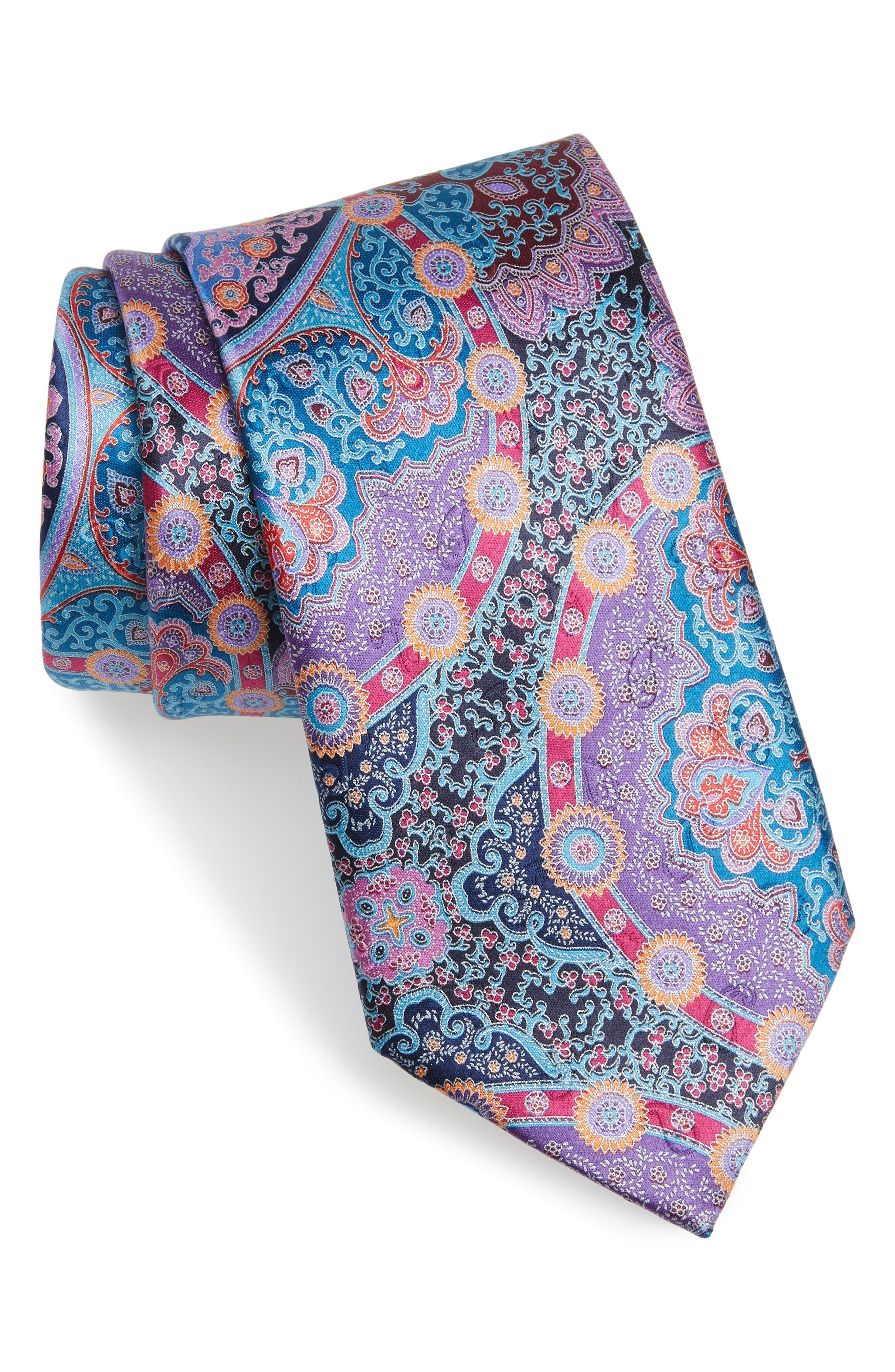 Quindici Paisley Silk Tie,                         Main,                         color, 500