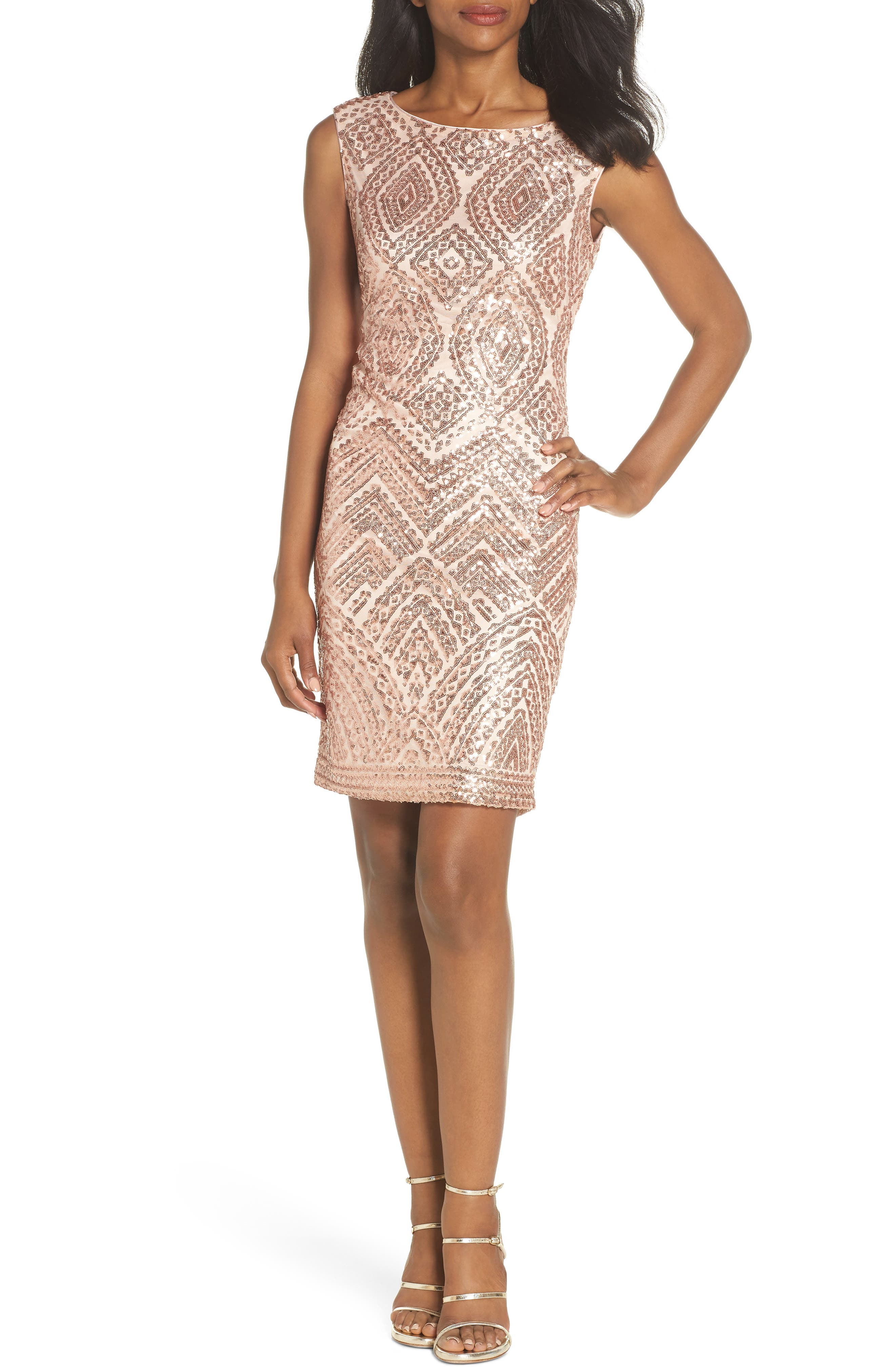 Vince Camuto Sequin Embellished Cocktail Dress, Beige