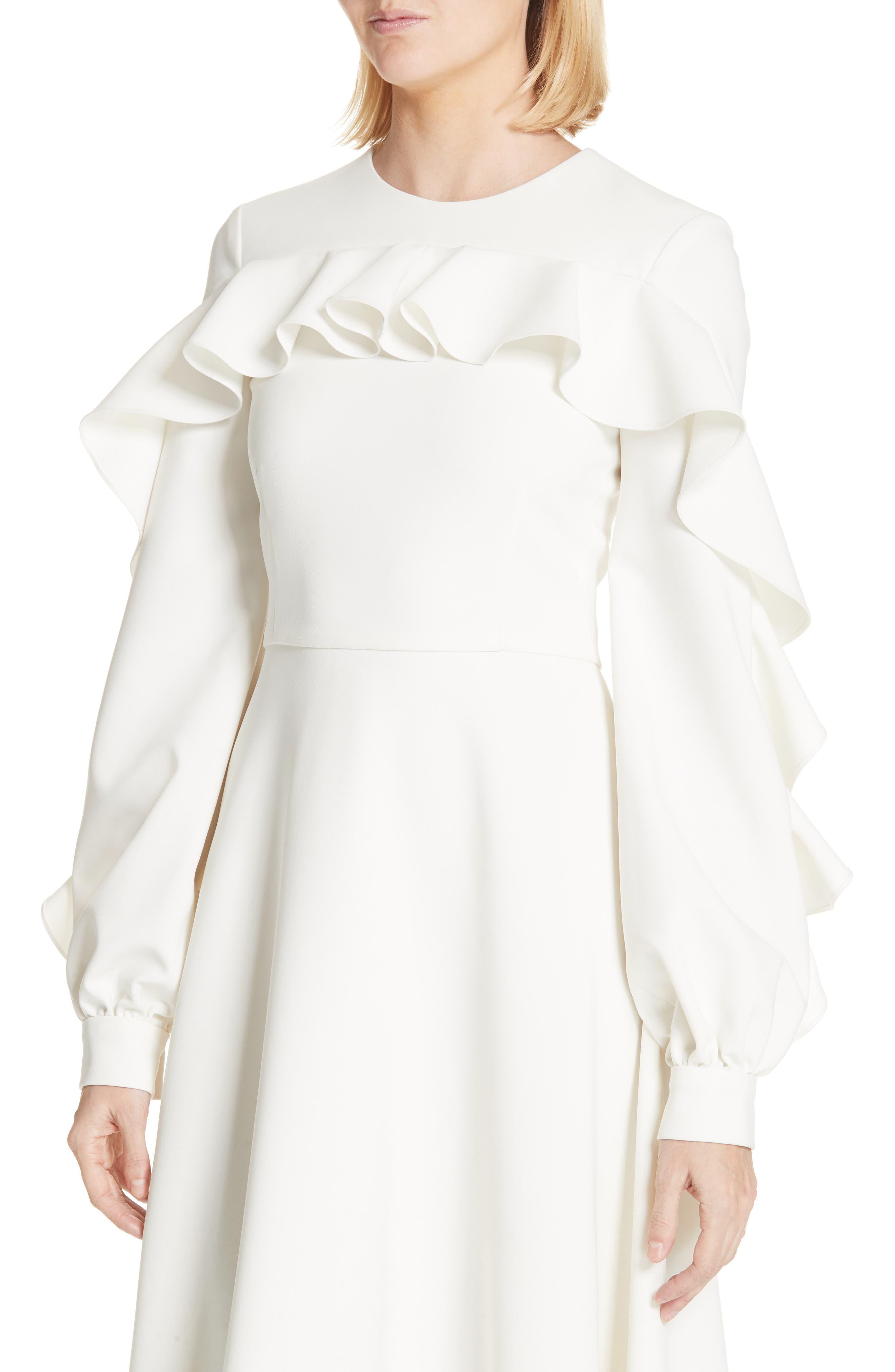 Long Sleeve Ruffle Detail Cocktail Dress,                             Alternate thumbnail 4, color,                             100
