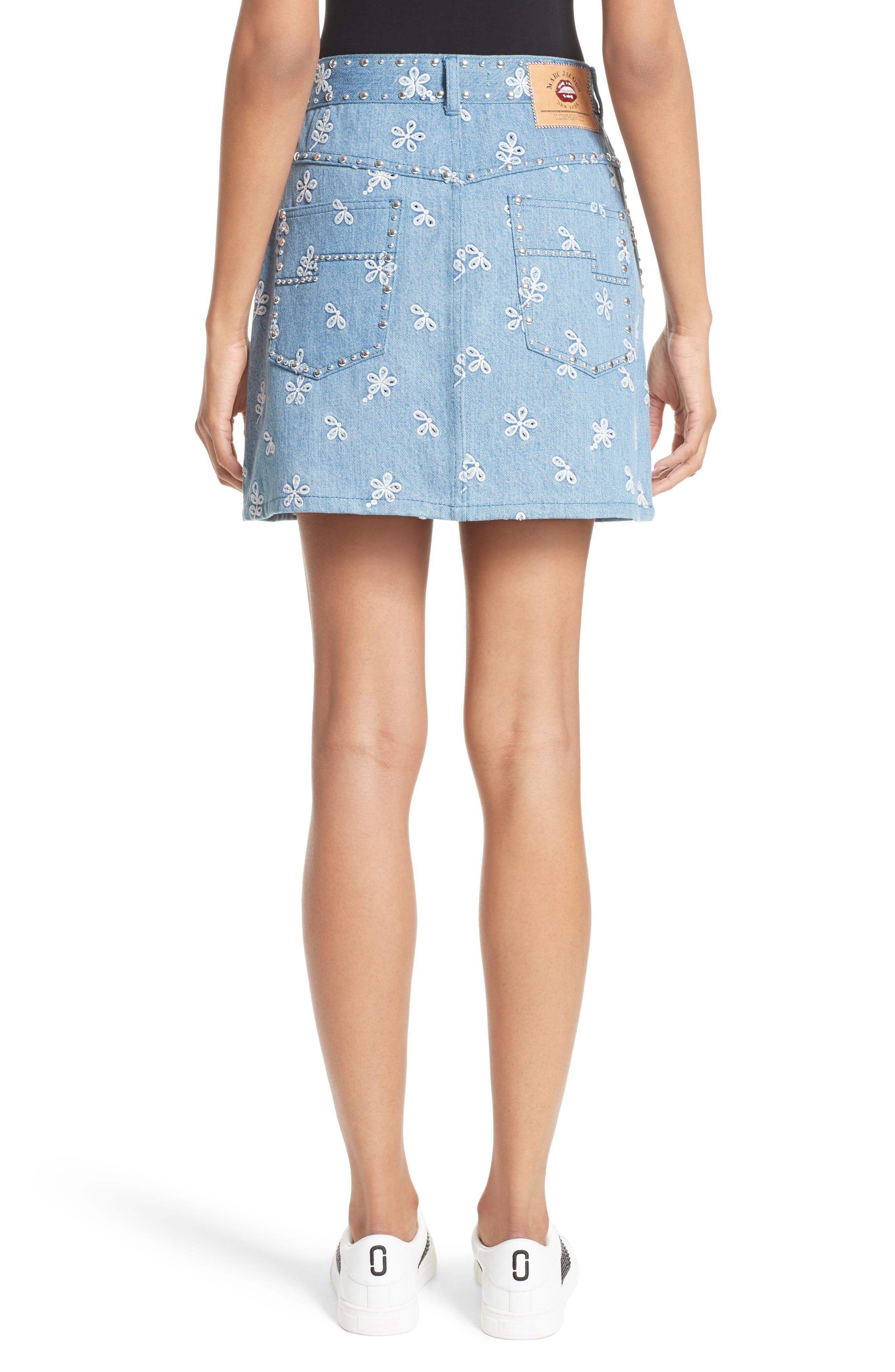 Broderie Anglaise Denim Miniskirt,                             Alternate thumbnail 2, color,                             400