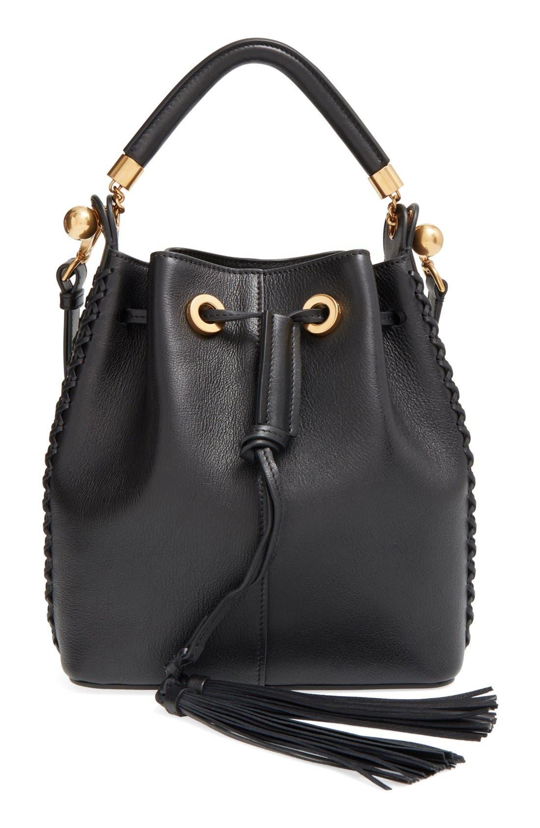 'Medium Gala' Calfskin Bucket Bag, Main, color, 001