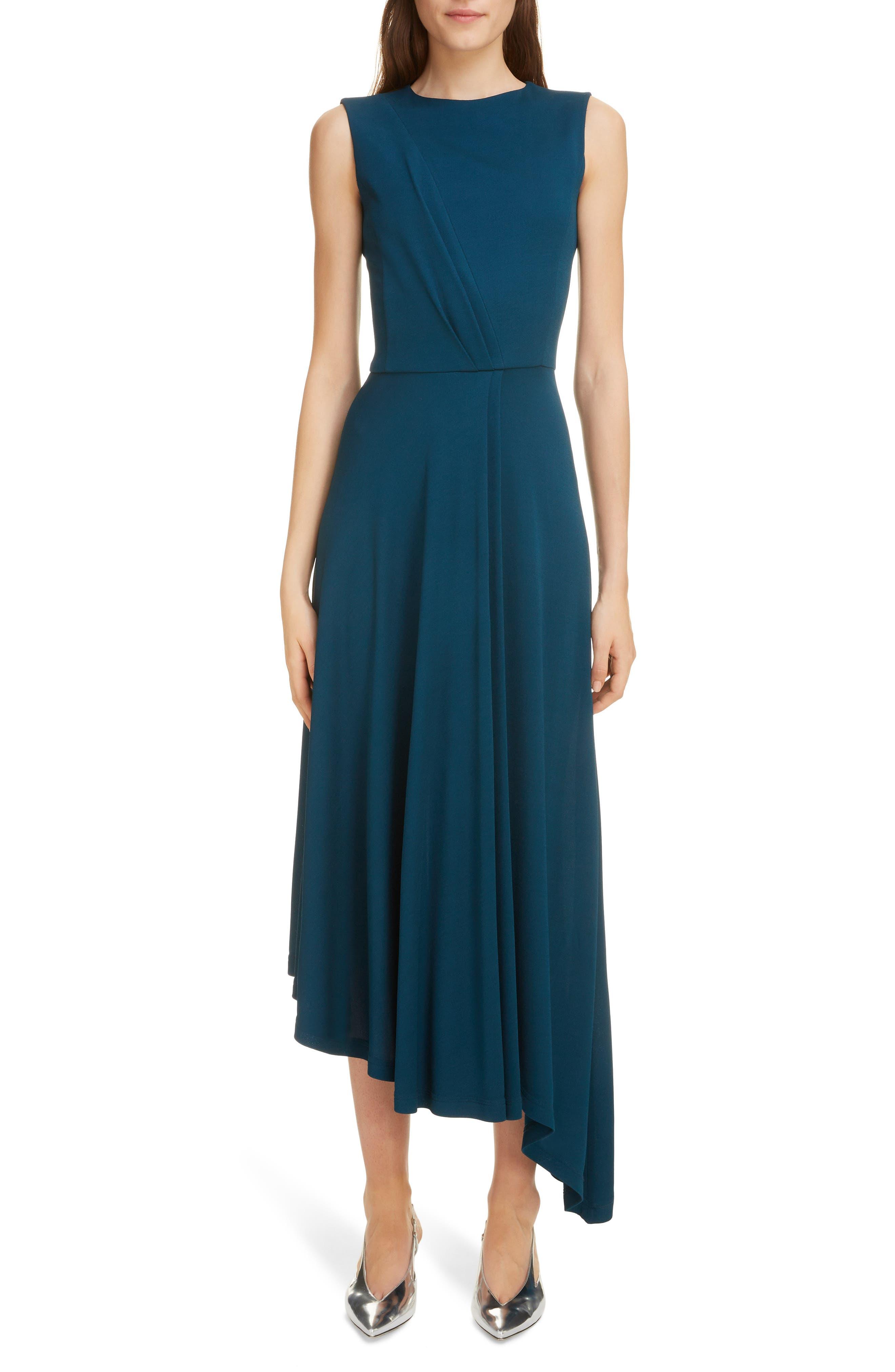 Givenchy Gathered Jersey Midi Dress, 8 FR - Blue