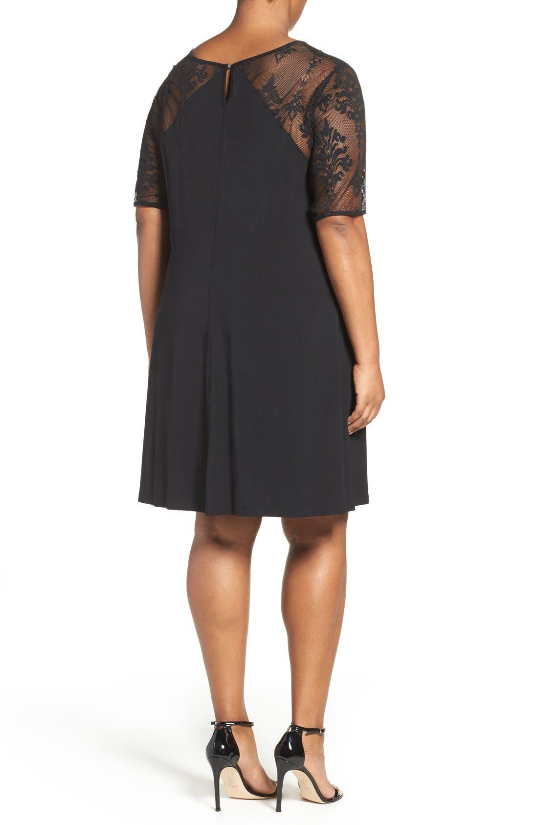 Jessar Lace Yoke Shift Dress,                             Alternate thumbnail 3, color,                             001