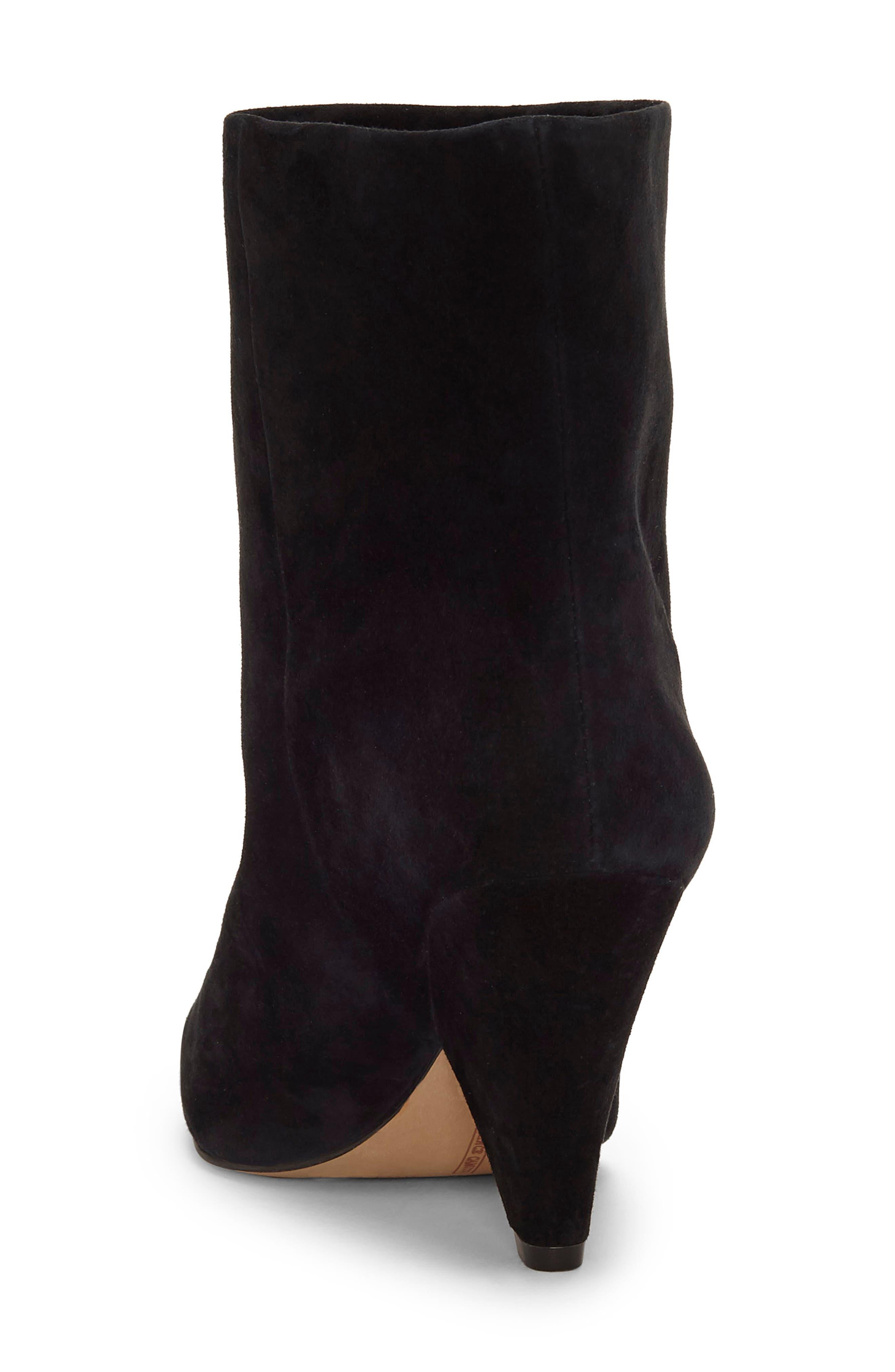 Regina Cone Heel Bootie,                             Alternate thumbnail 2, color,                             BLACK SUEDE
