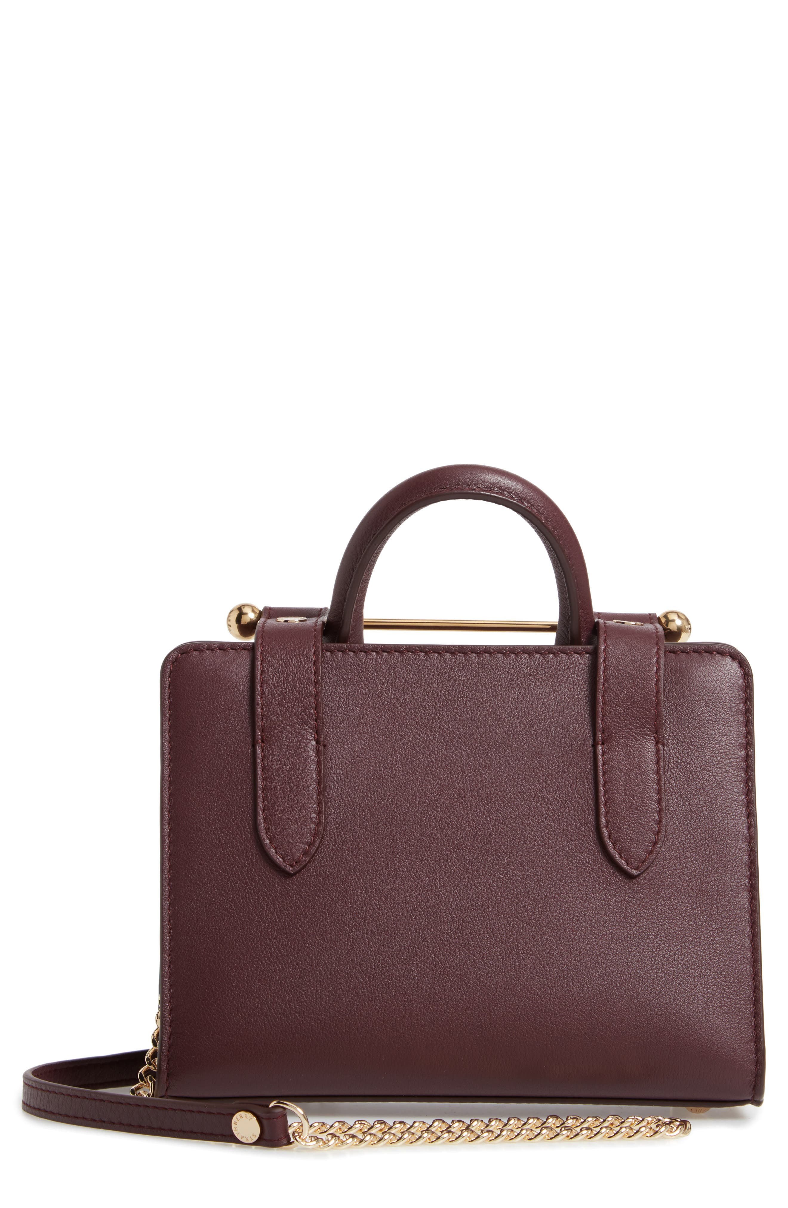 Nano Leather Tote,                             Main thumbnail 1, color,                             BURGUNDY