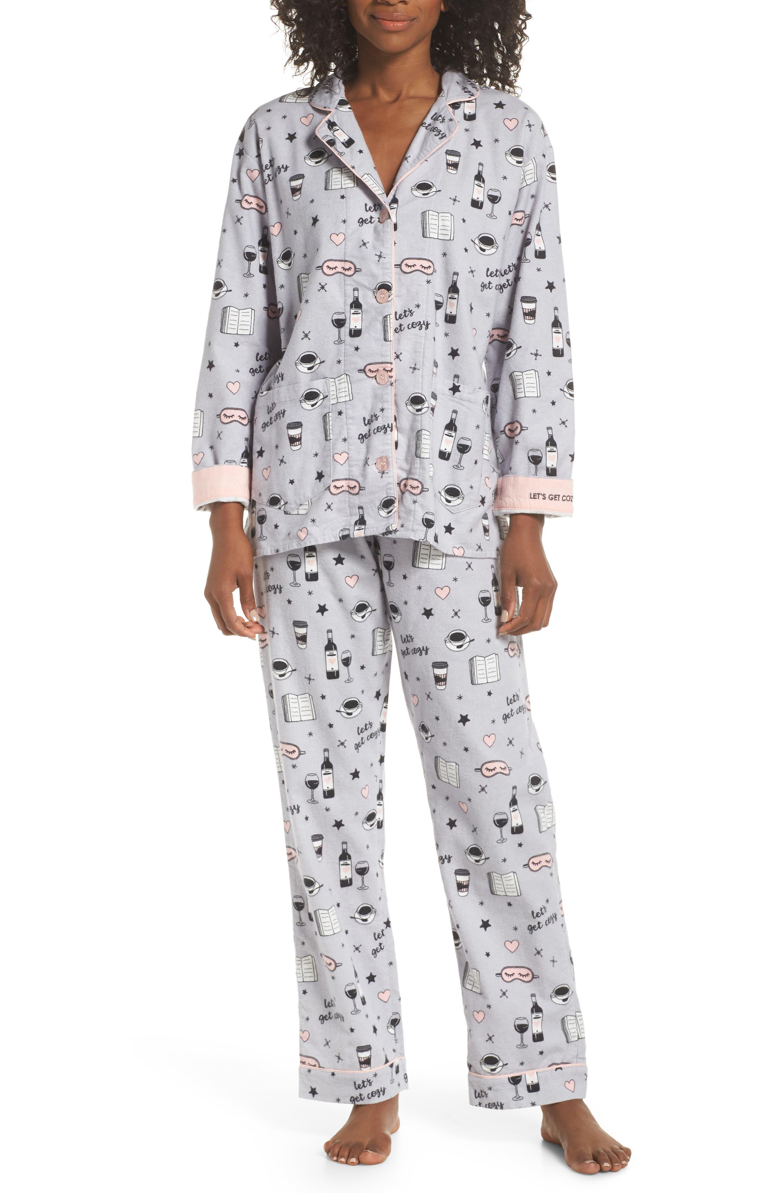 Pj Salvage Print Flannel Pajamas, Grey