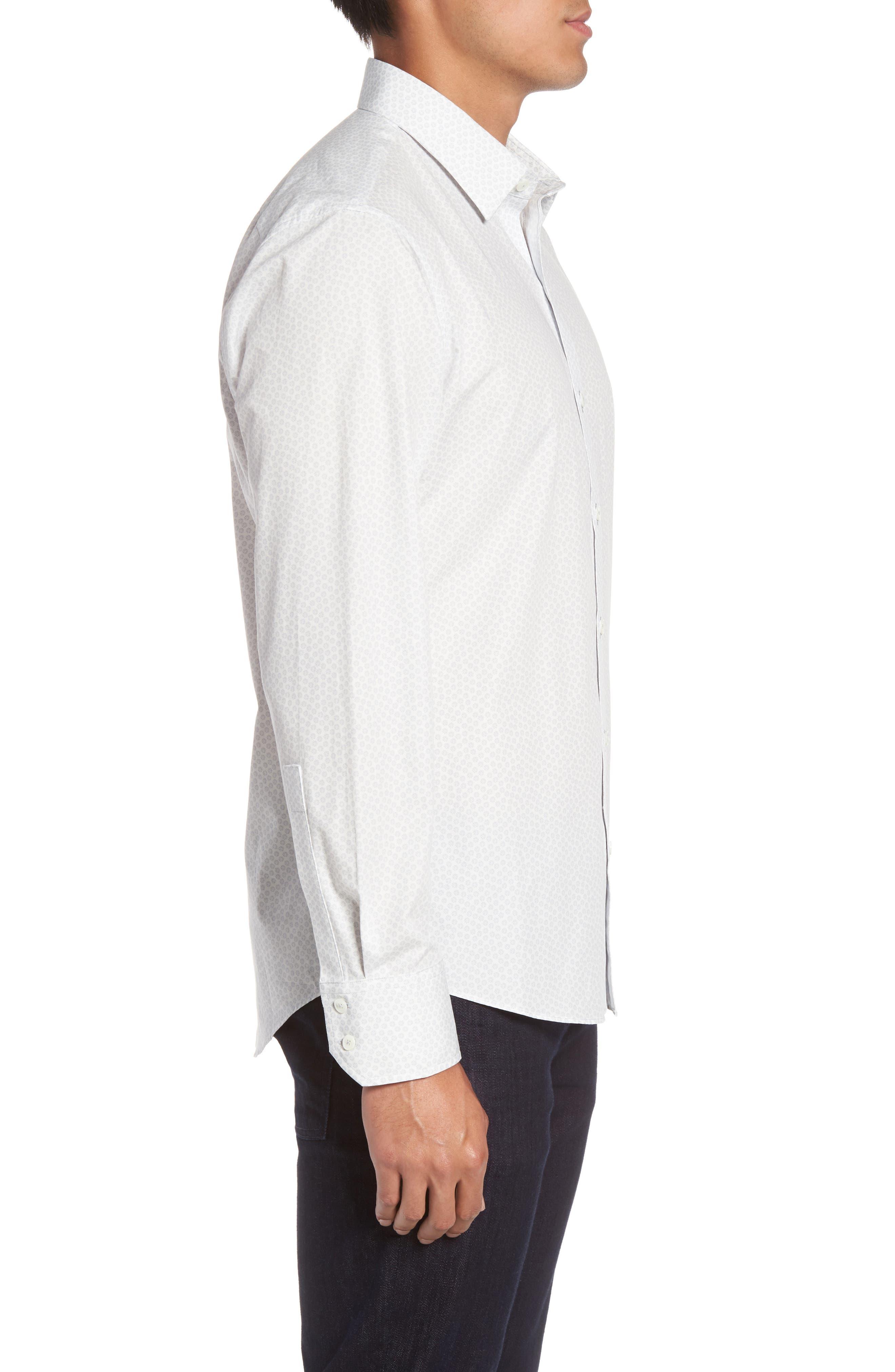 Owens Slim Fit Print Sport Shirt,                             Alternate thumbnail 3, color,                             100