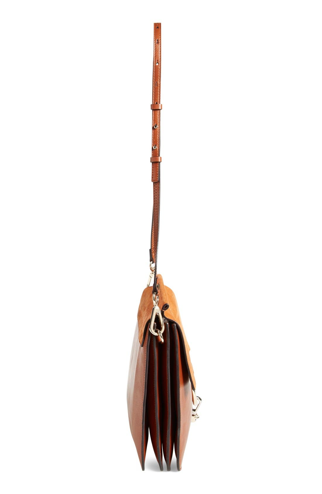 CHLOÉ,                             'Faye' Leather & Suede Shoulder Bag,                             Alternate thumbnail 4, color,                             CLASSIC TOBACCO