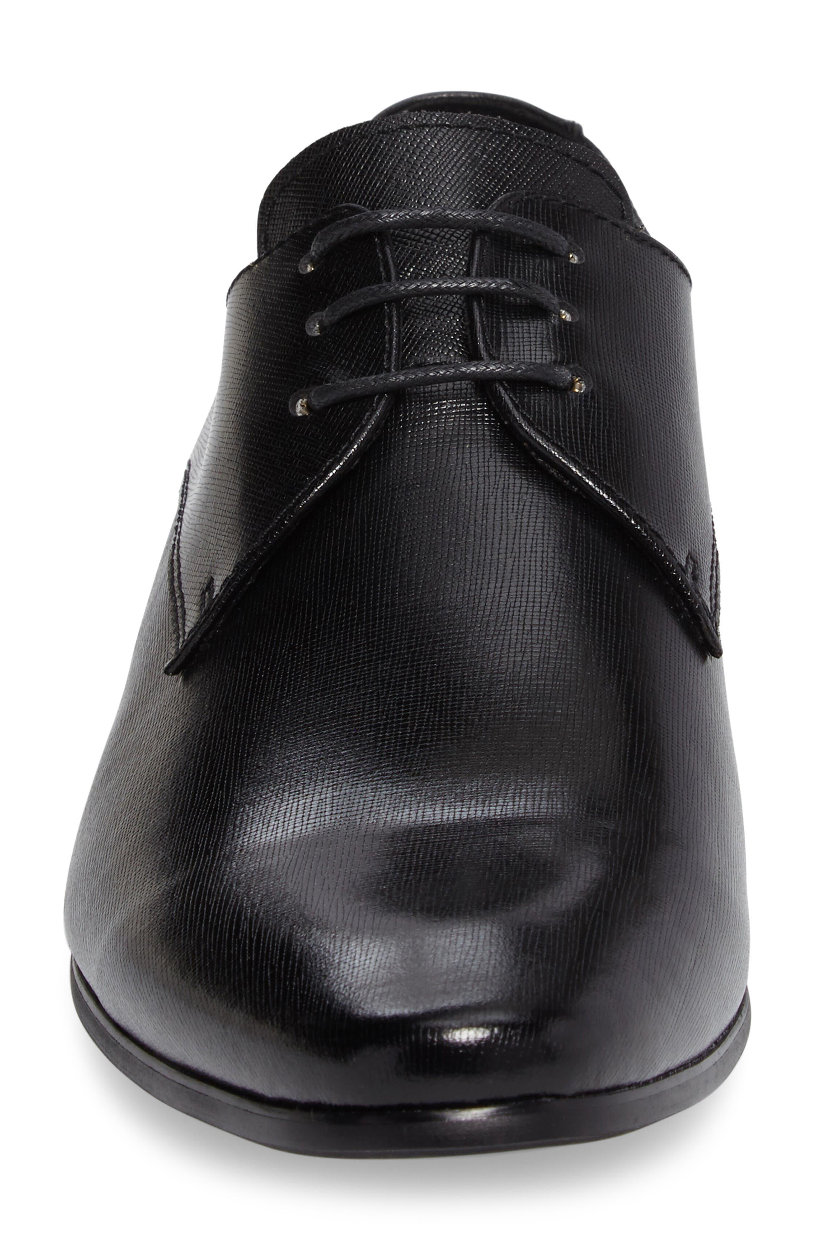Needle Plain Toe Derby,                             Alternate thumbnail 4, color,                             BLACK