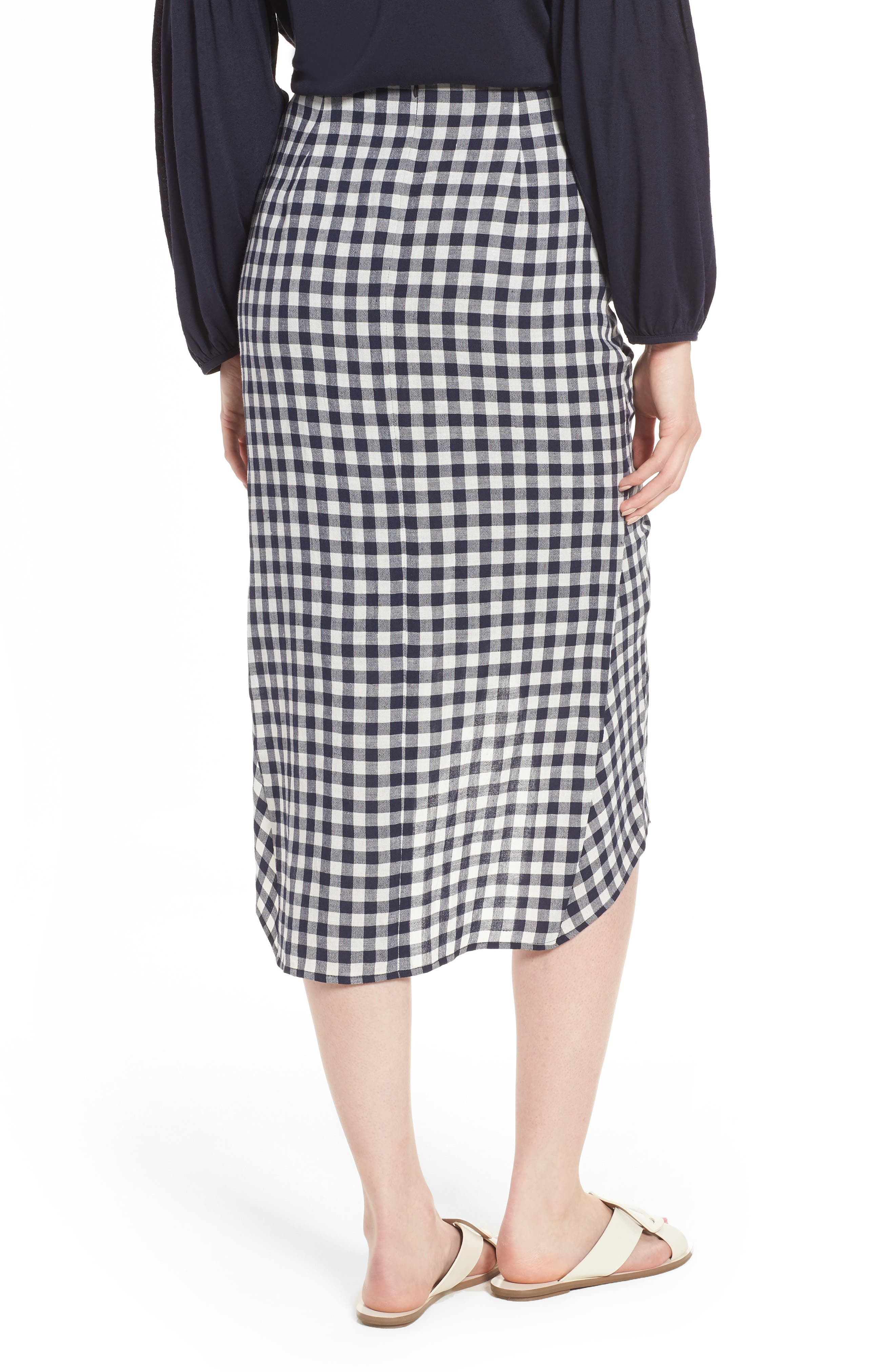 Ruched Front Gingham Skirt,                             Alternate thumbnail 2, color,                             NAVY NIGHT- WHITE CHECK