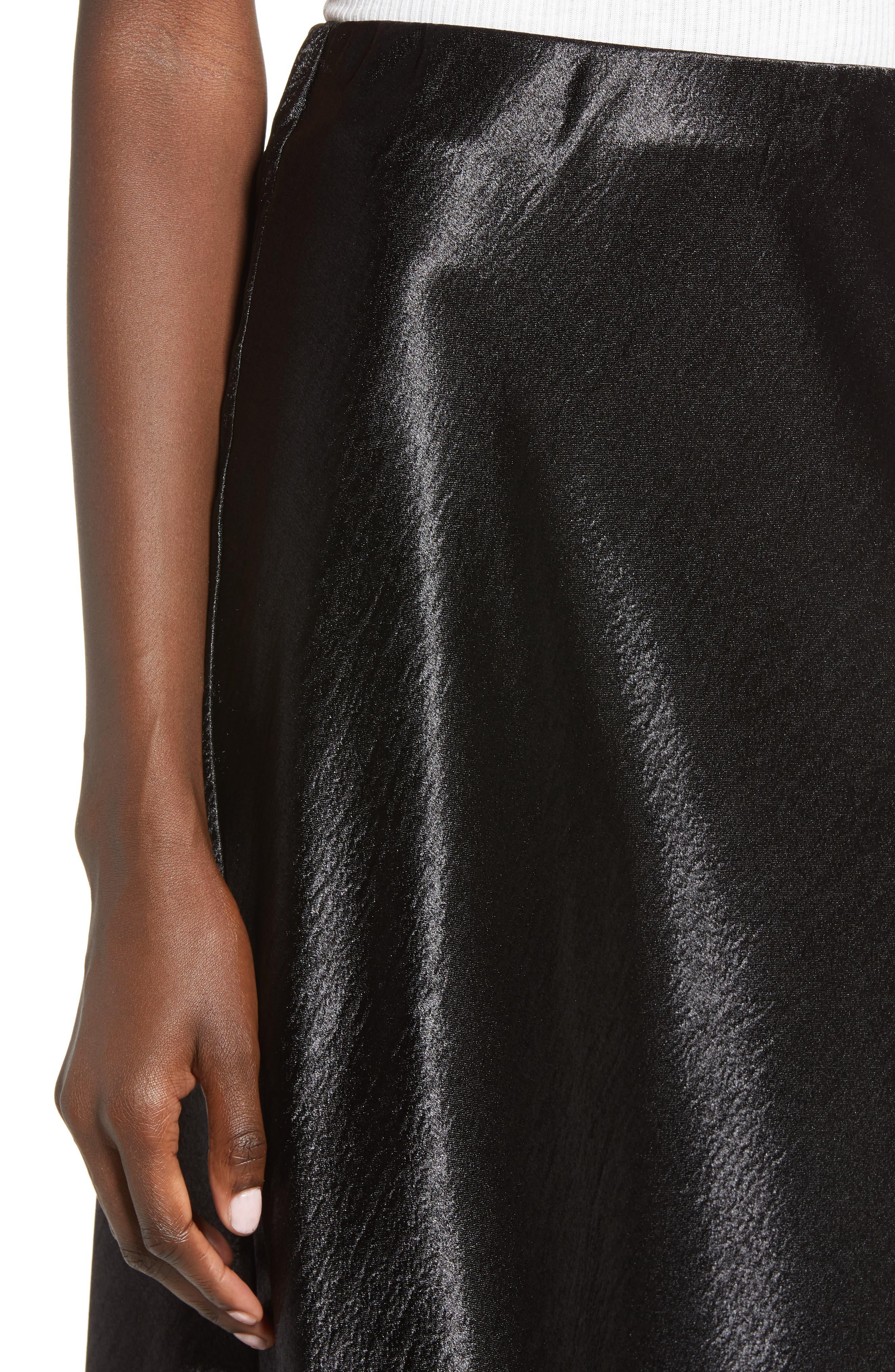 Satin Midi Skirt,                             Alternate thumbnail 4, color,                             BLACK