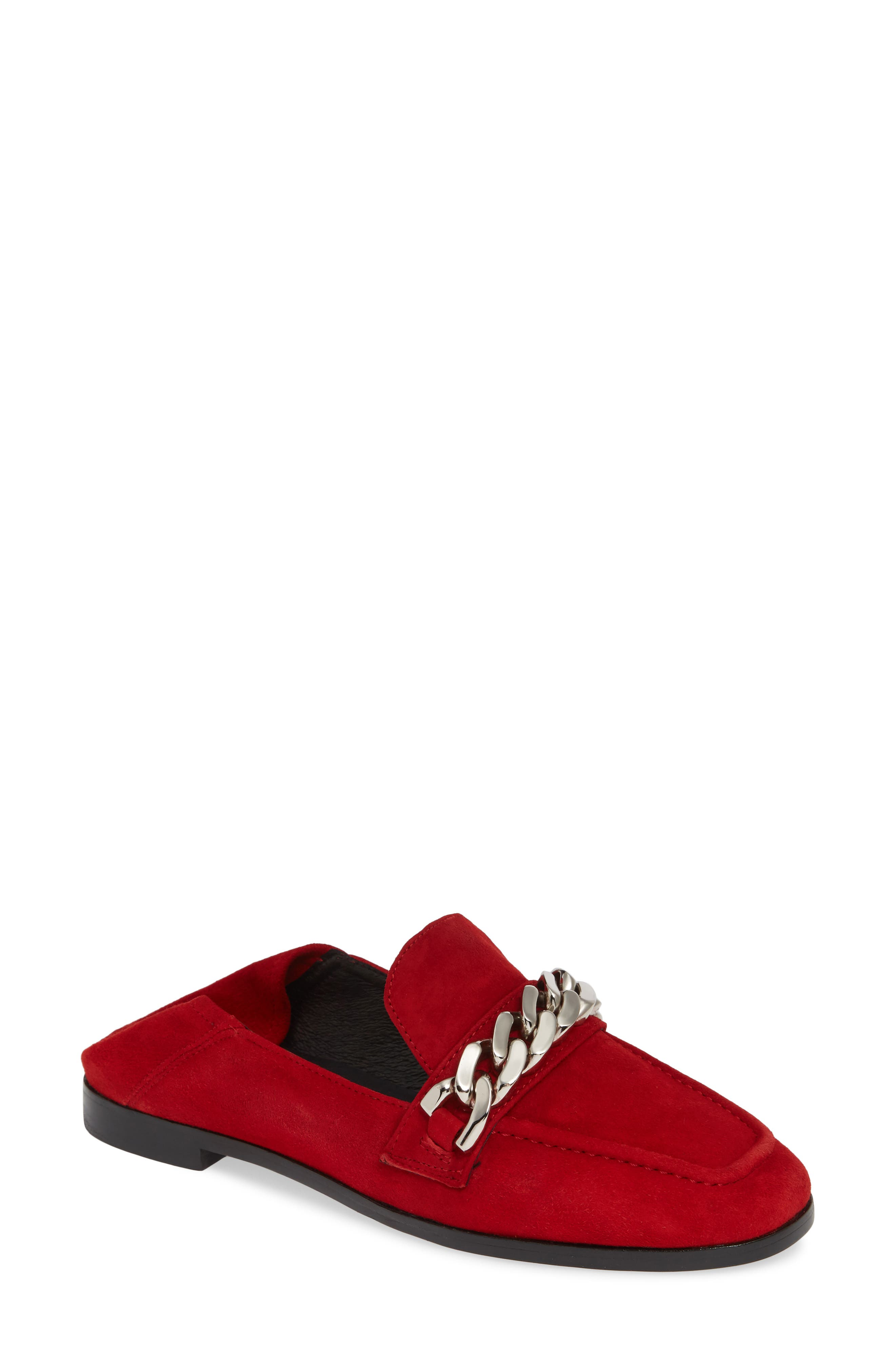 Jesse Convertible Heel Loafer,                             Main thumbnail 1, color,                             RED SUEDE SILVER