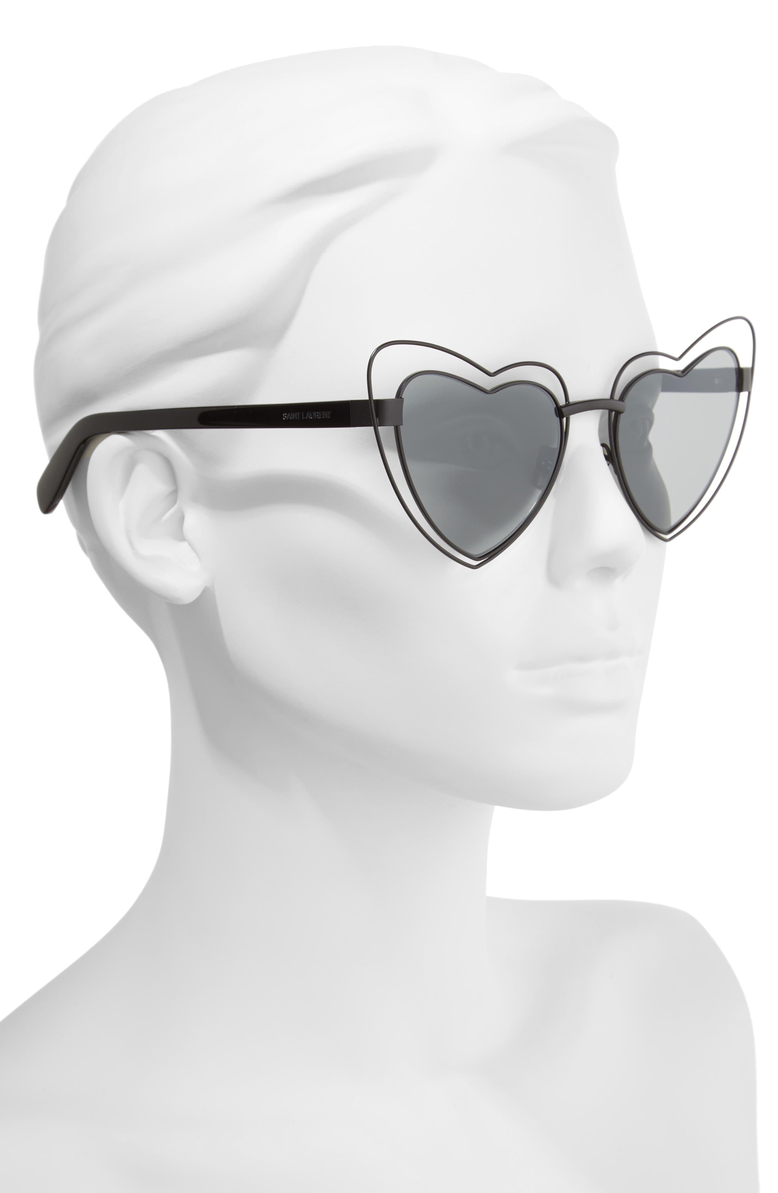 SL197 Loulou 57mm Heart Shaped Sunglasses,                             Alternate thumbnail 2, color,                             001