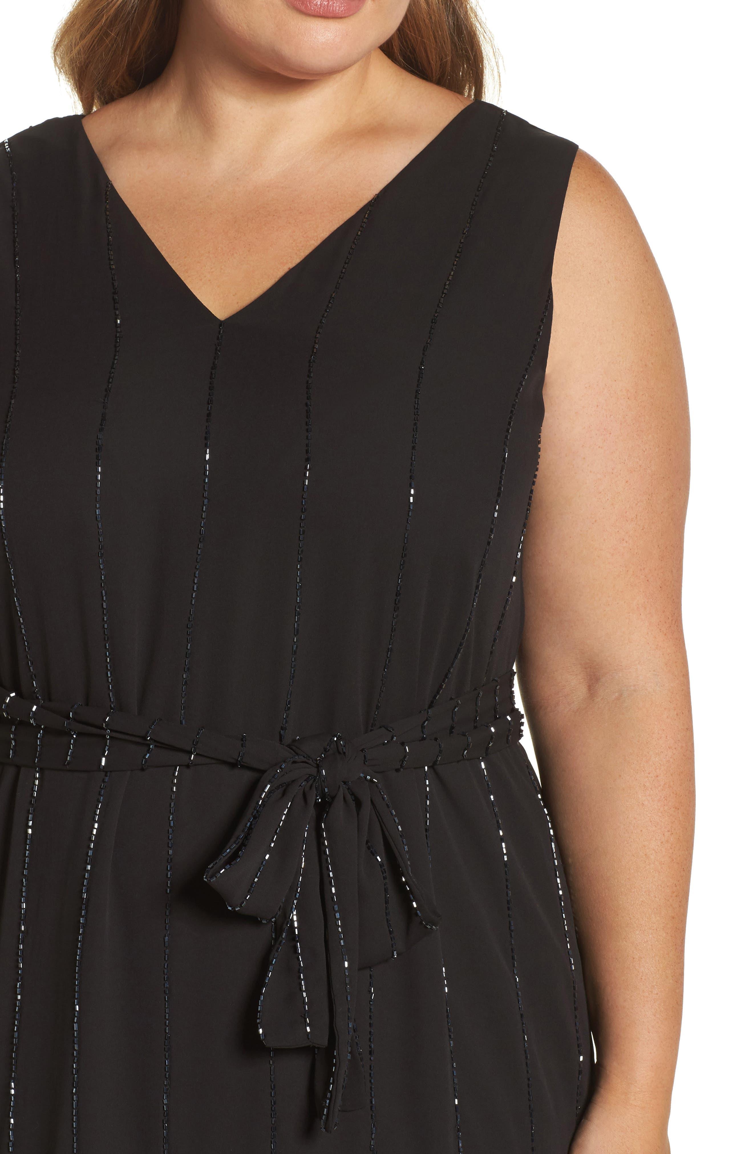 Beaded A-Line Dress,                             Alternate thumbnail 4, color,                             001