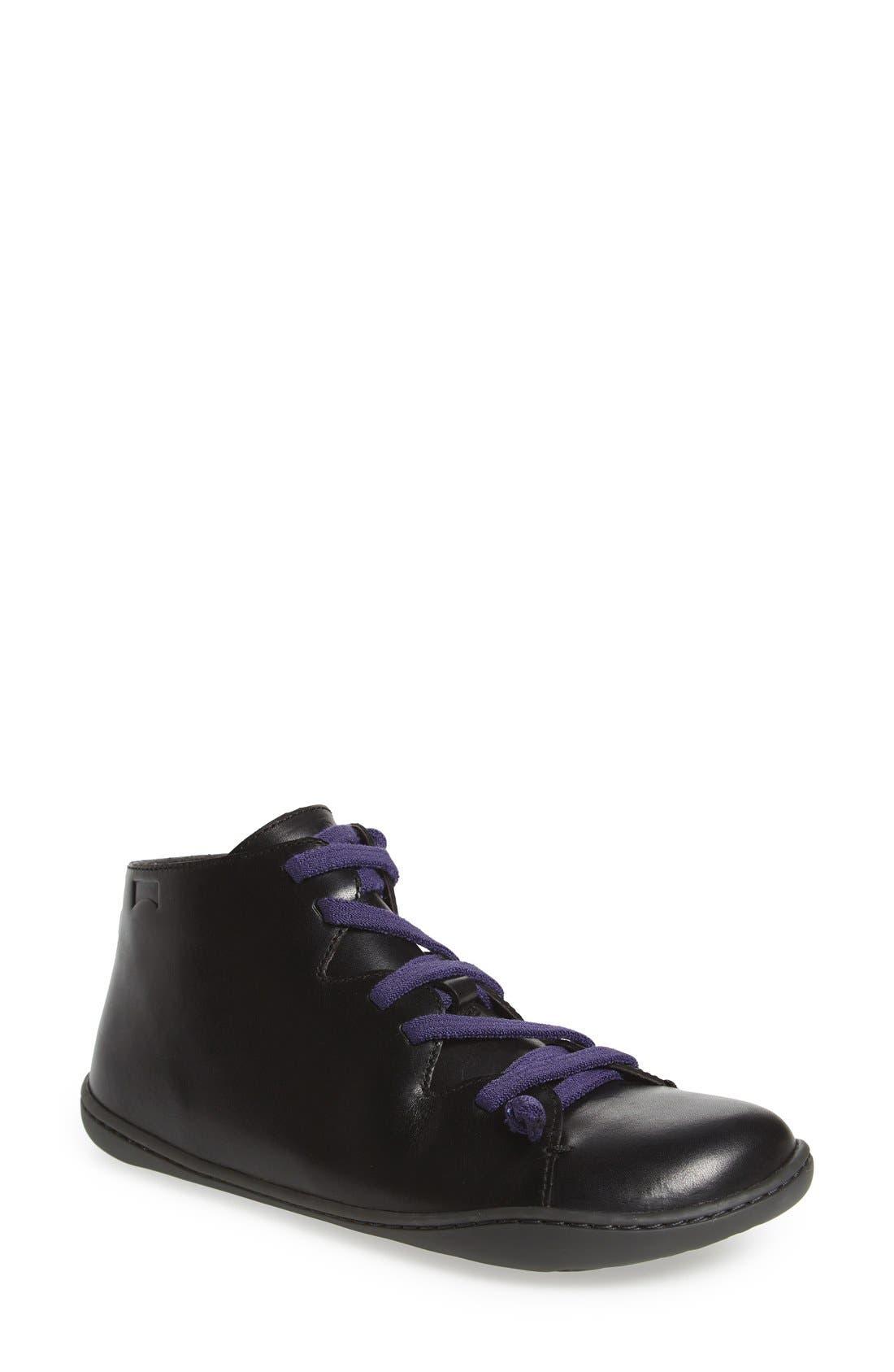 'Peu Cami' Mid Sneaker,                             Main thumbnail 1, color,                             BLACK LEATHER