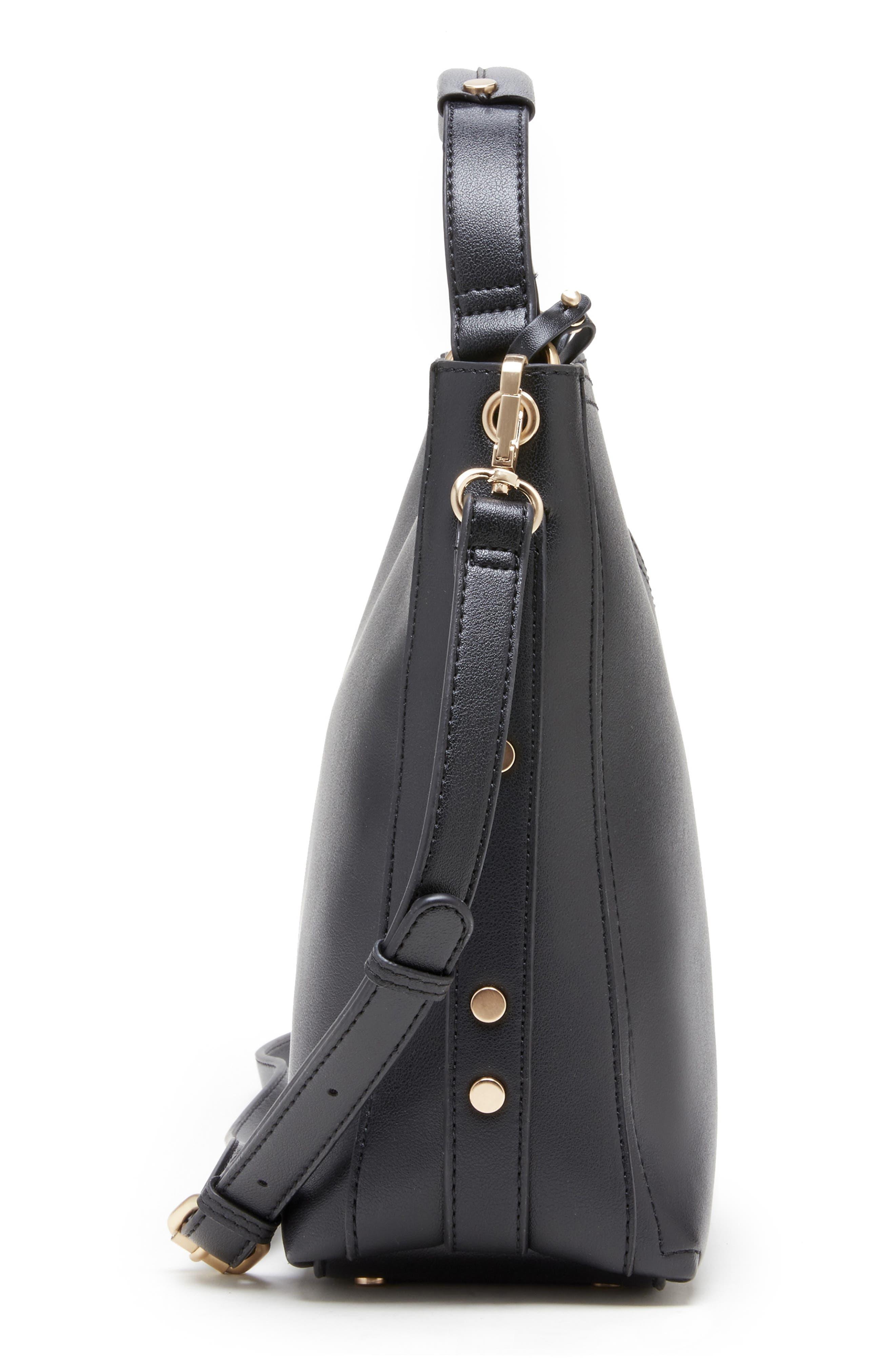 Hingi Faux Leather Shoulder Bag,                             Alternate thumbnail 4, color,                             BLACK