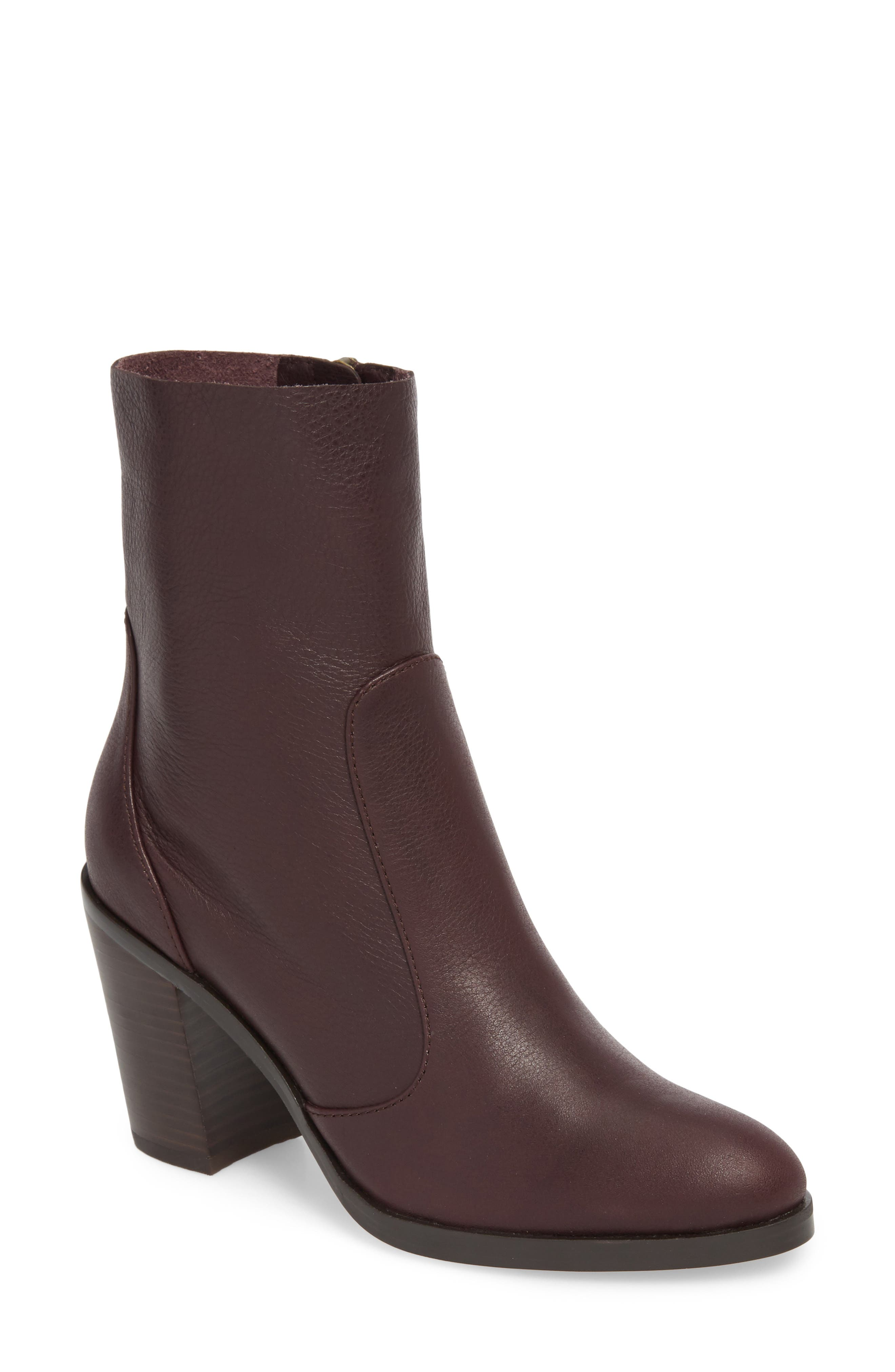 Roselyn Bootie,                             Main thumbnail 1, color,                             DEEP PLUM LEATHER
