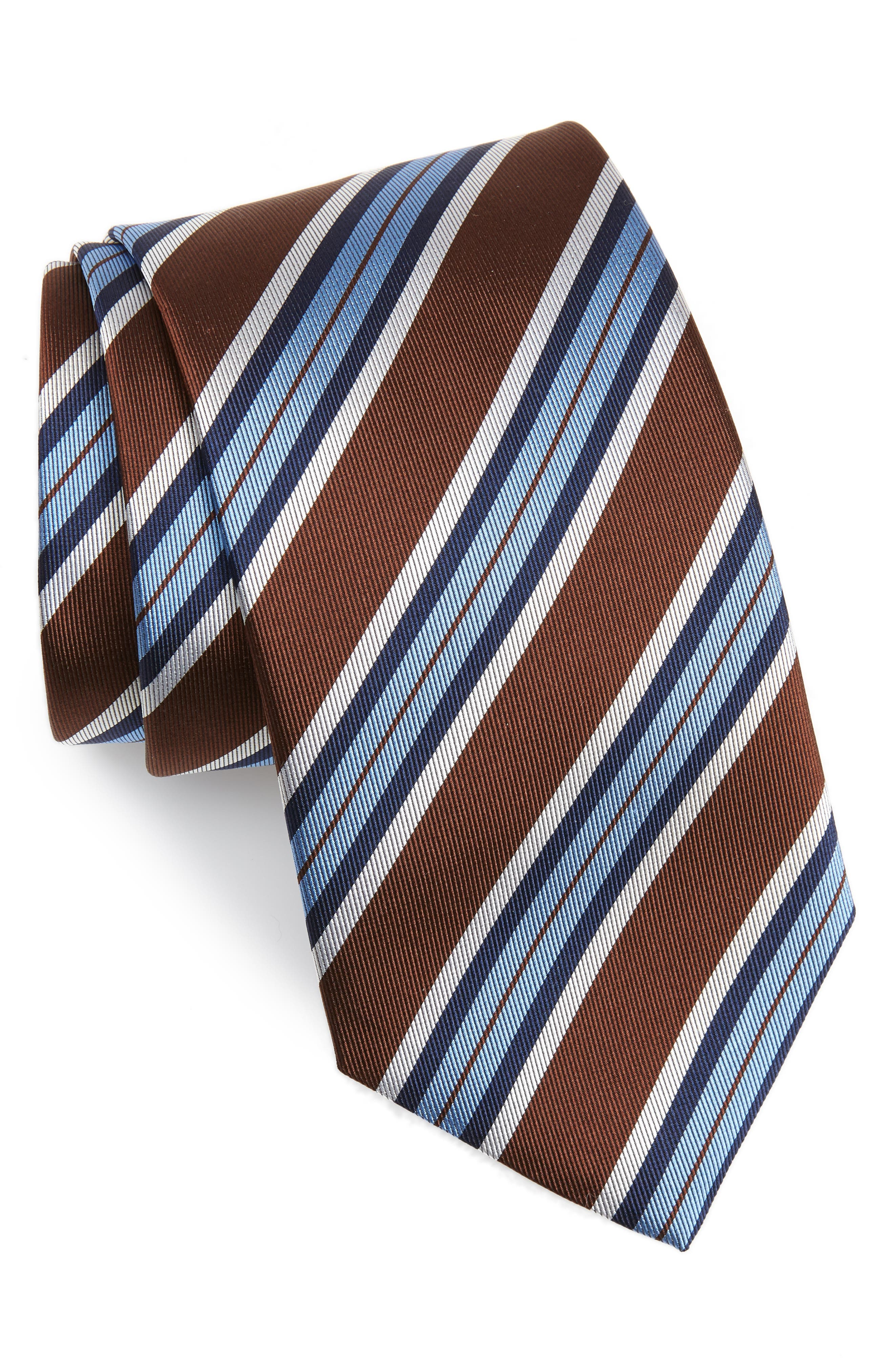 Stripe Silk X-Long Tie,                             Main thumbnail 1, color,                             CHOCOLATE
