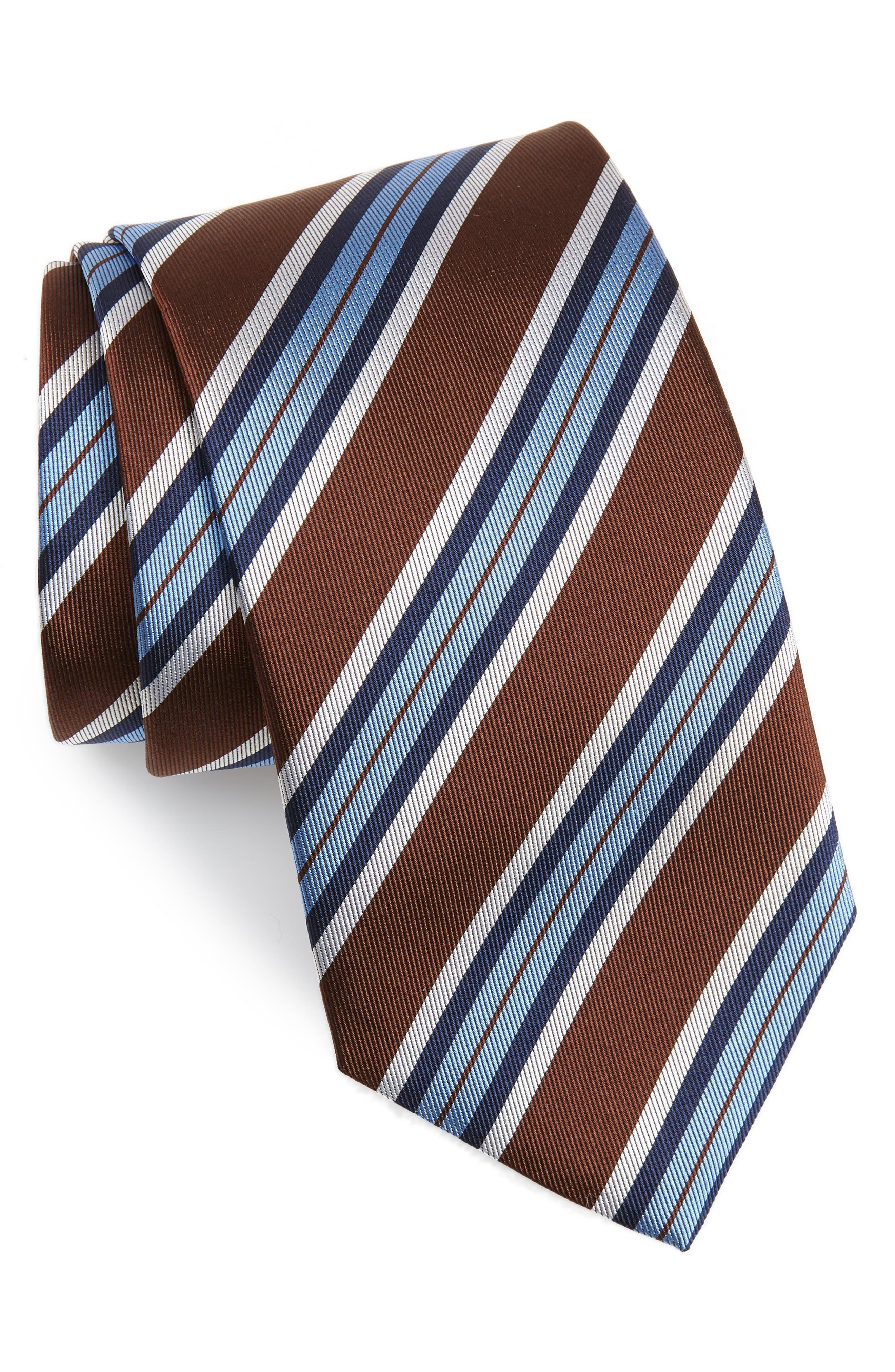 Stripe Silk X-Long Tie, Main, color, CHOCOLATE