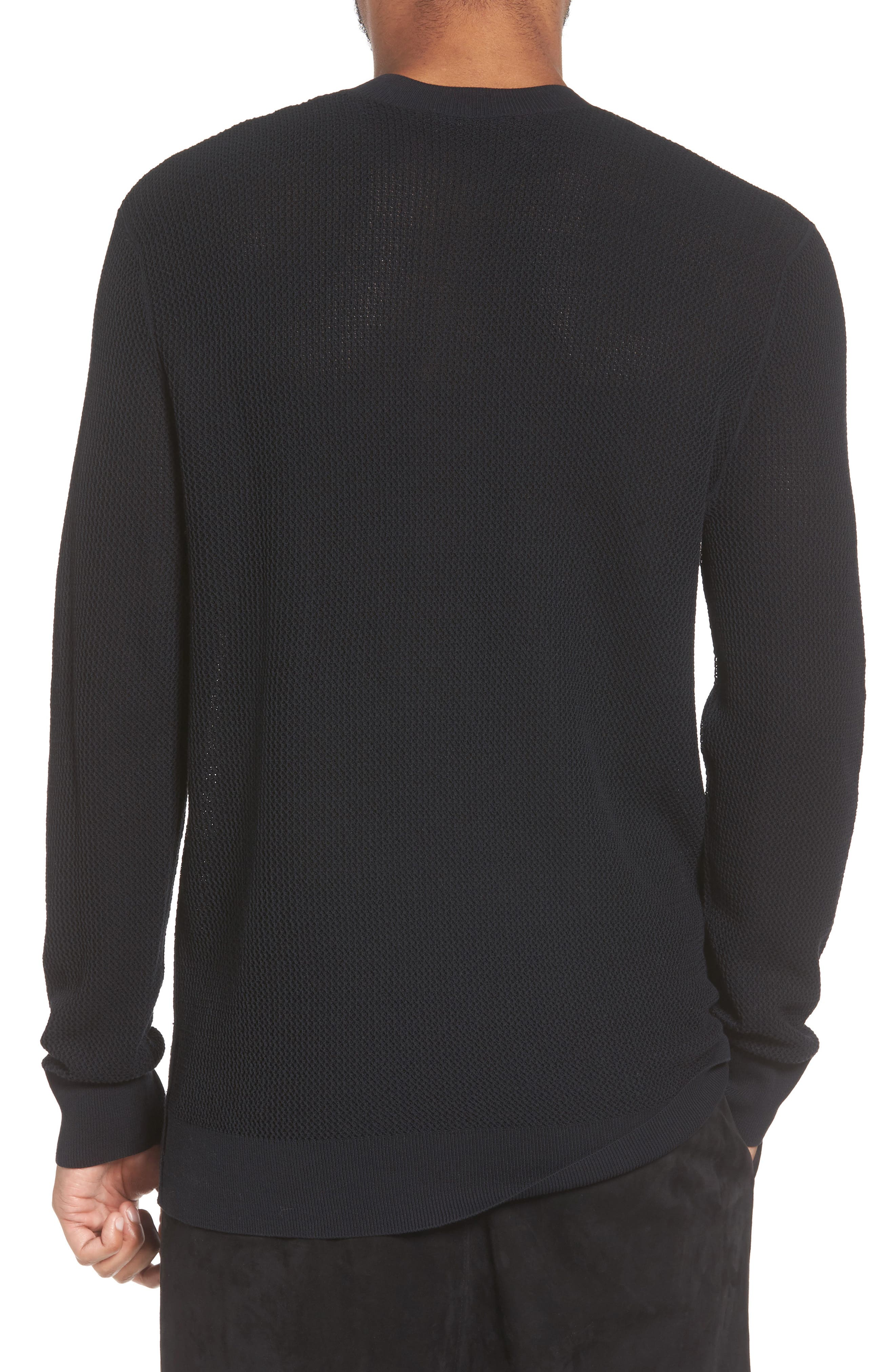 Mesh Crewneck Sweater,                             Alternate thumbnail 2, color,                             001