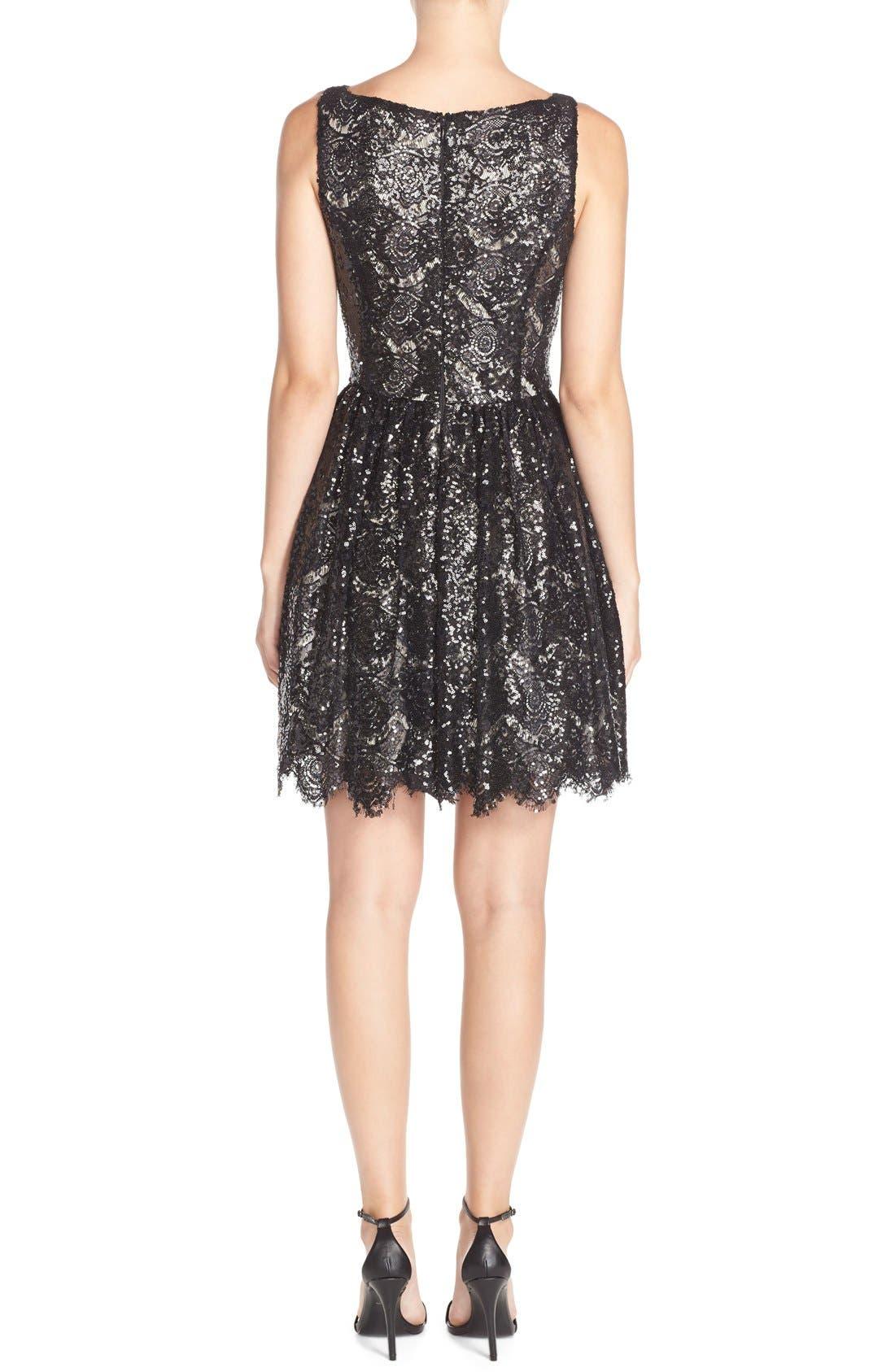 'Sabrina' Sequin Fit & Flare Dress,                             Alternate thumbnail 3, color,                             001