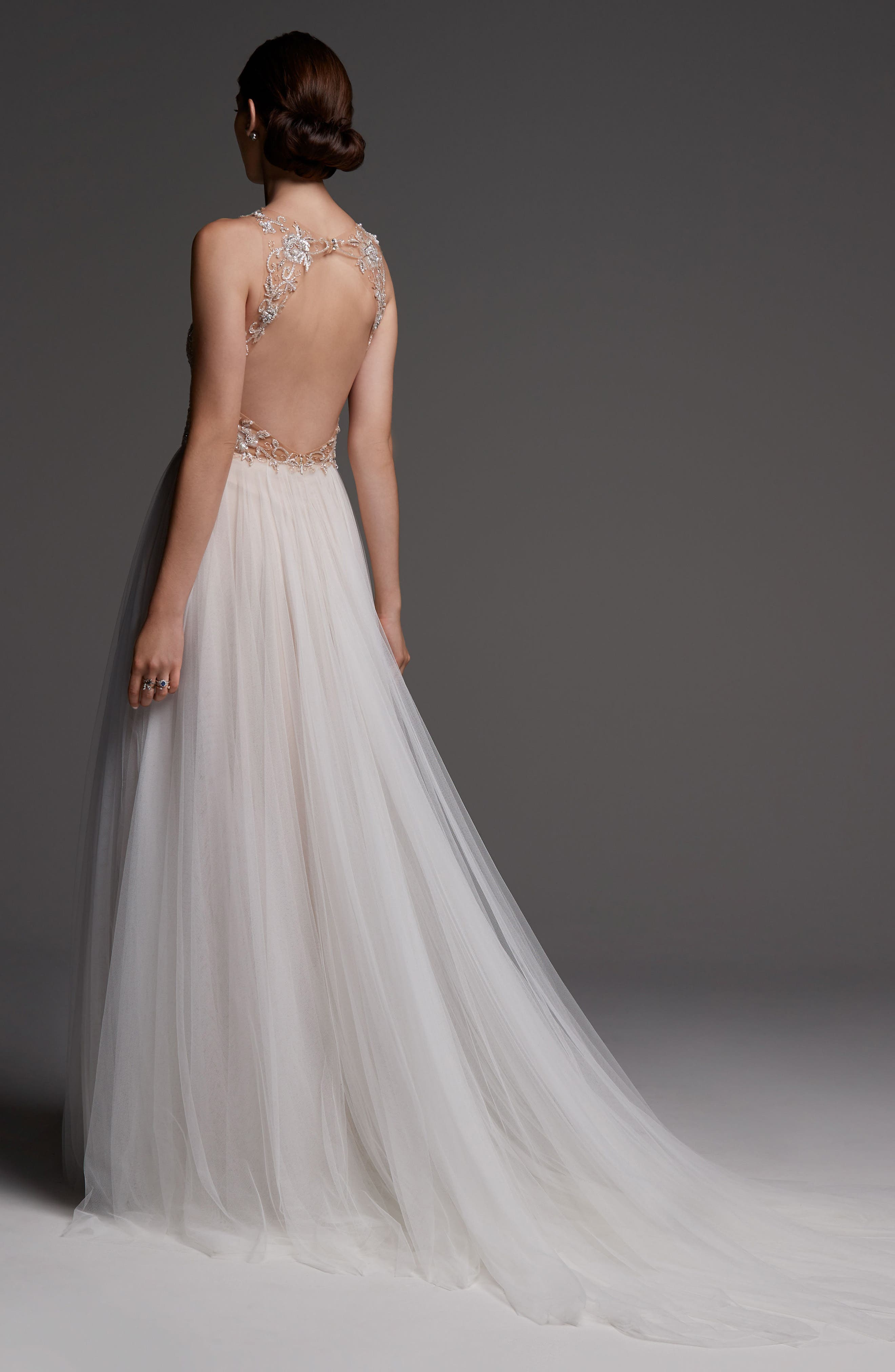 Wessex Beaded Open Back Gown,                             Alternate thumbnail 2, color,                             NUDE/ BLUSH