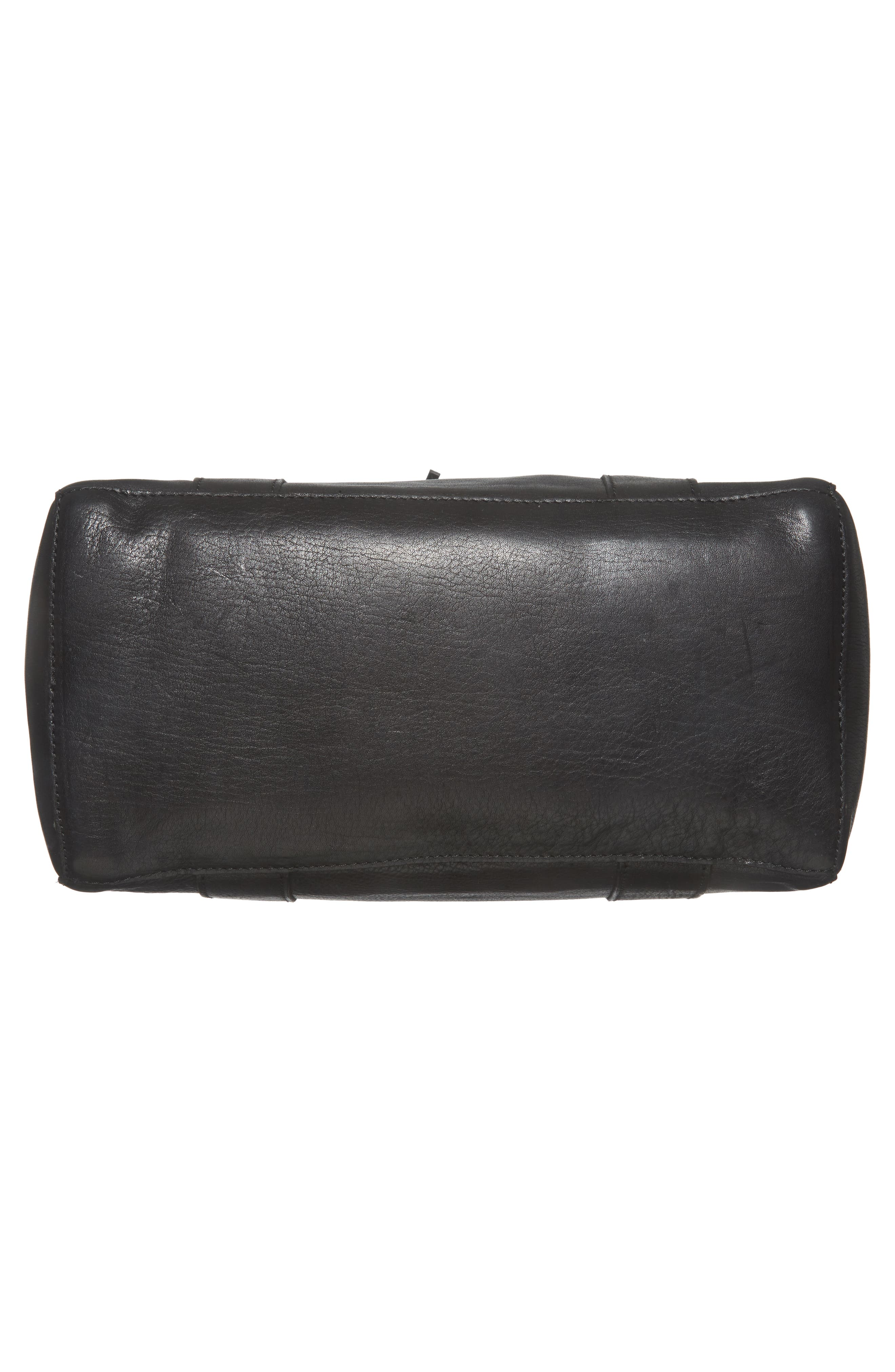 O-Ring Leather Satchel,                             Alternate thumbnail 6, color,                             TRUE BLACK