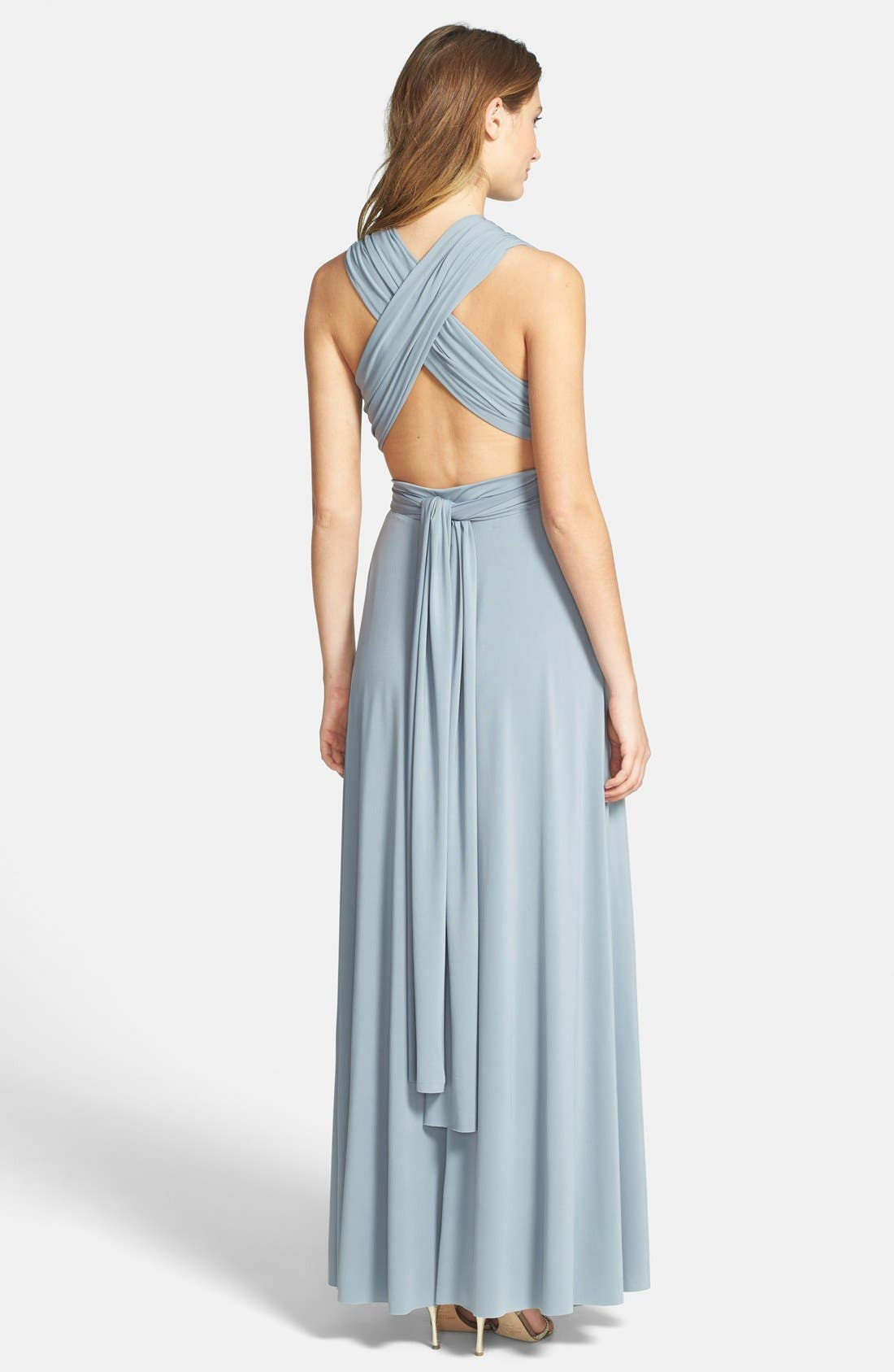 Convertible Wrap Tie Surplice Jersey Gown,                             Alternate thumbnail 4, color,                             033